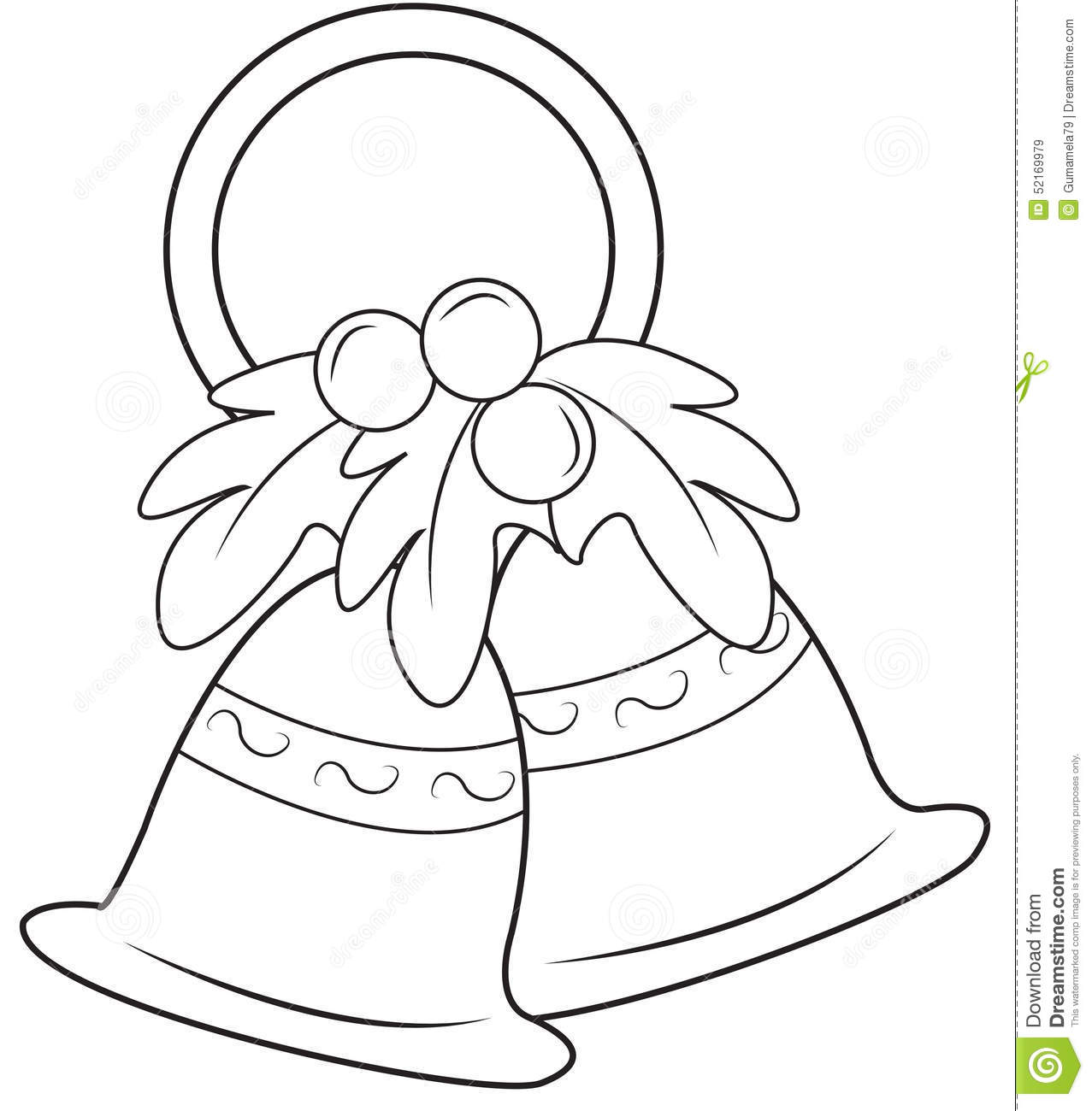 Christmas Bells Coloring Page Stock Illustration