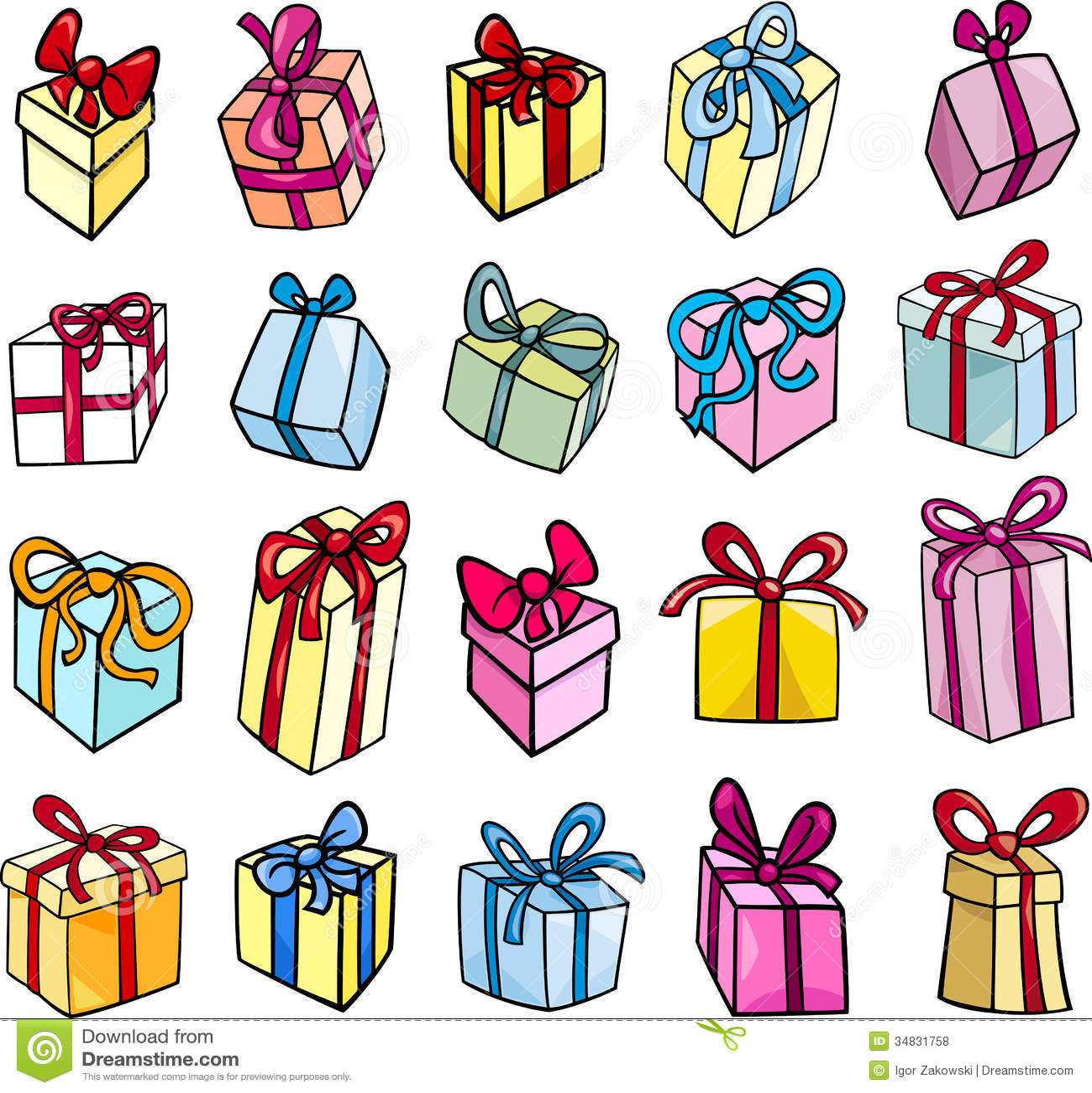 Christmas Or Birthday Gift Clip Art Set Stock Vector Illustration Of Comic Object 34831758