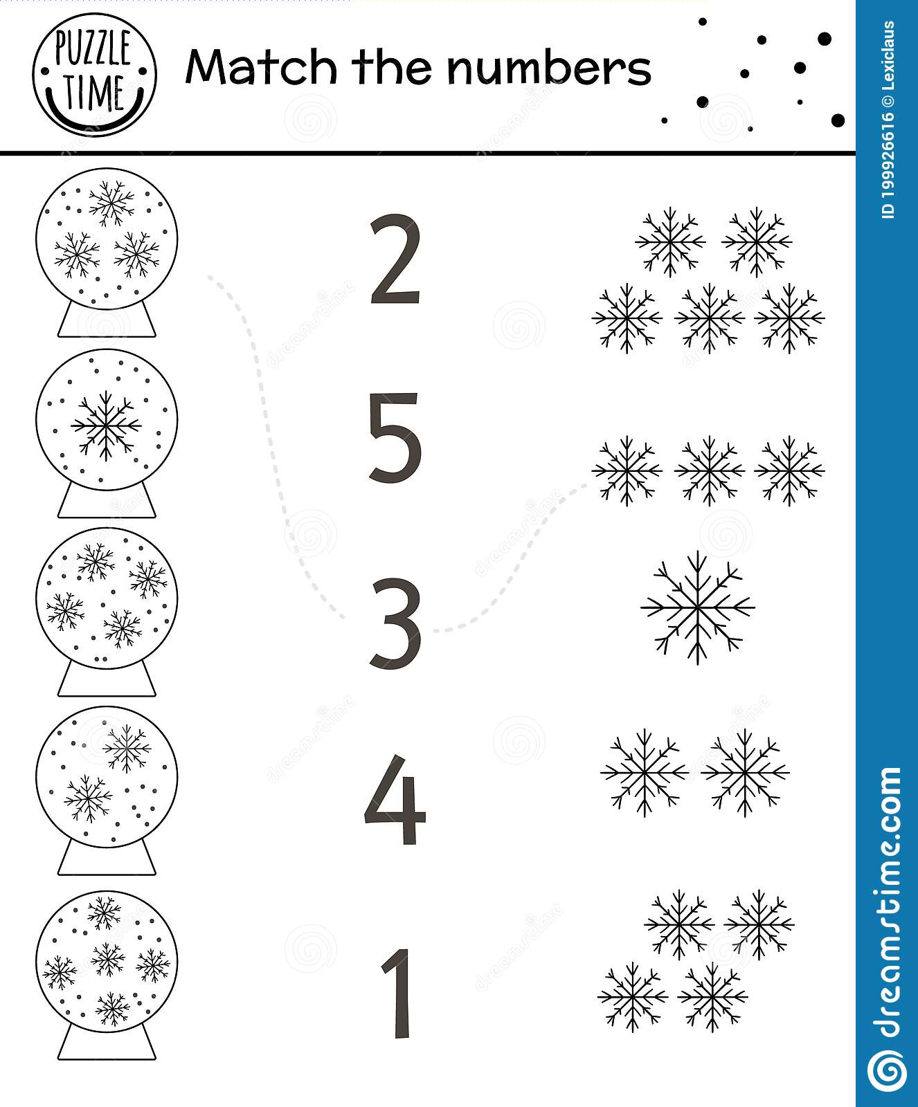 Christmas Black And White Matching Game With Snow Globes