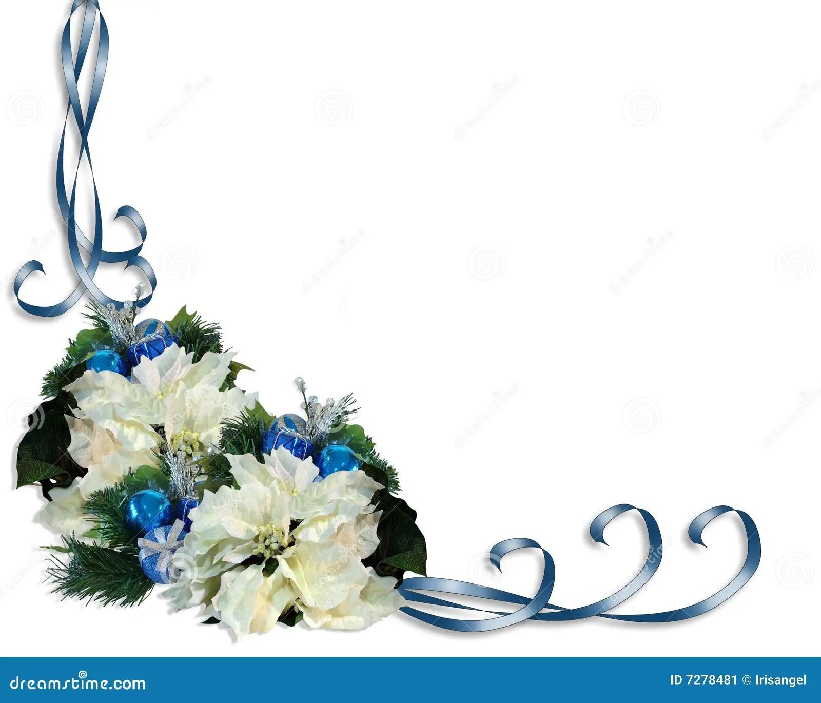Christmas Border White Poinsettias Stock Illustration