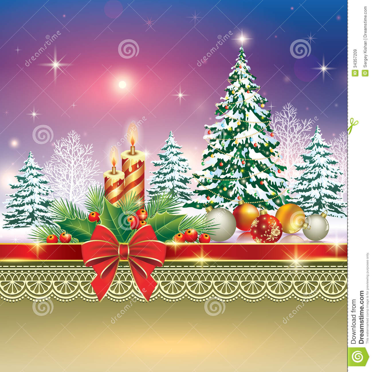 Christmas Card With Christmas Tree And Candles Stock