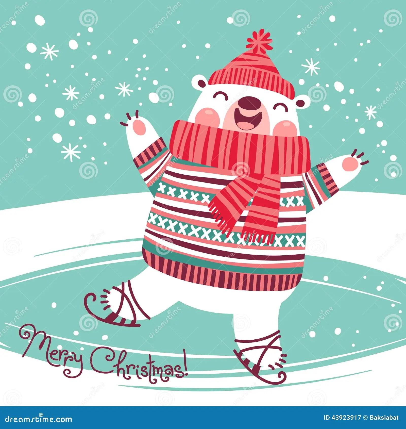 Christmas Card With Cute Polar Bear On An Ice Rink Stock