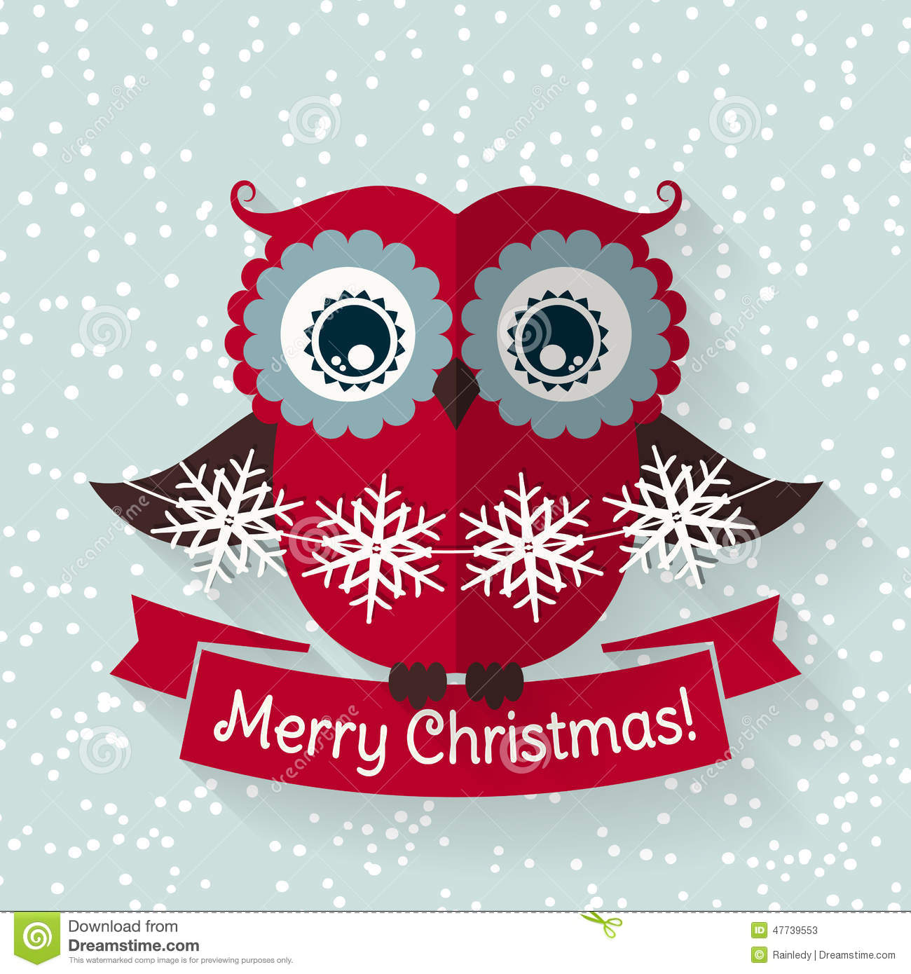 Christmas Card With Flat Owl And Ribbon Vector