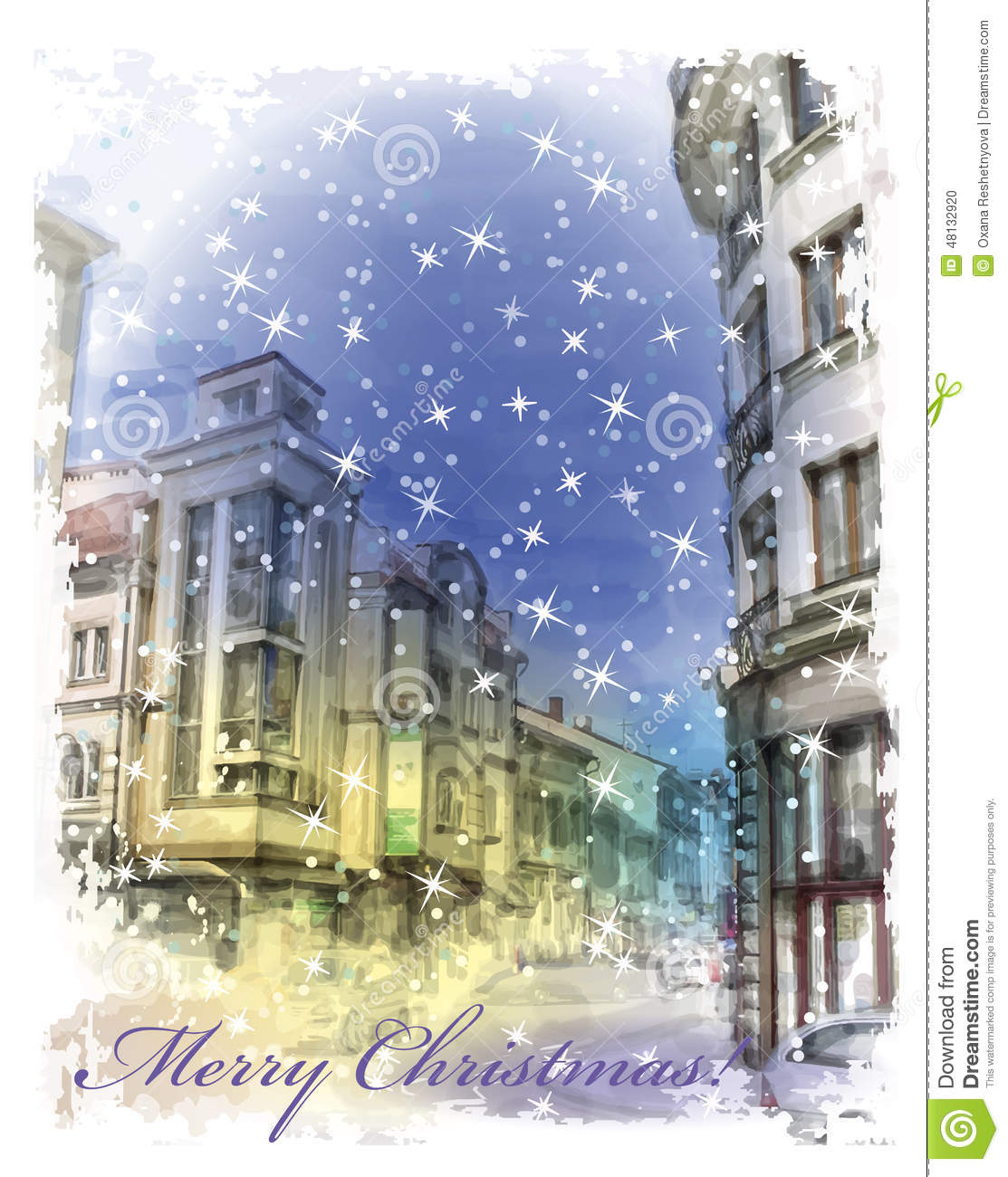 Christmas Card With Illustration Of City Street