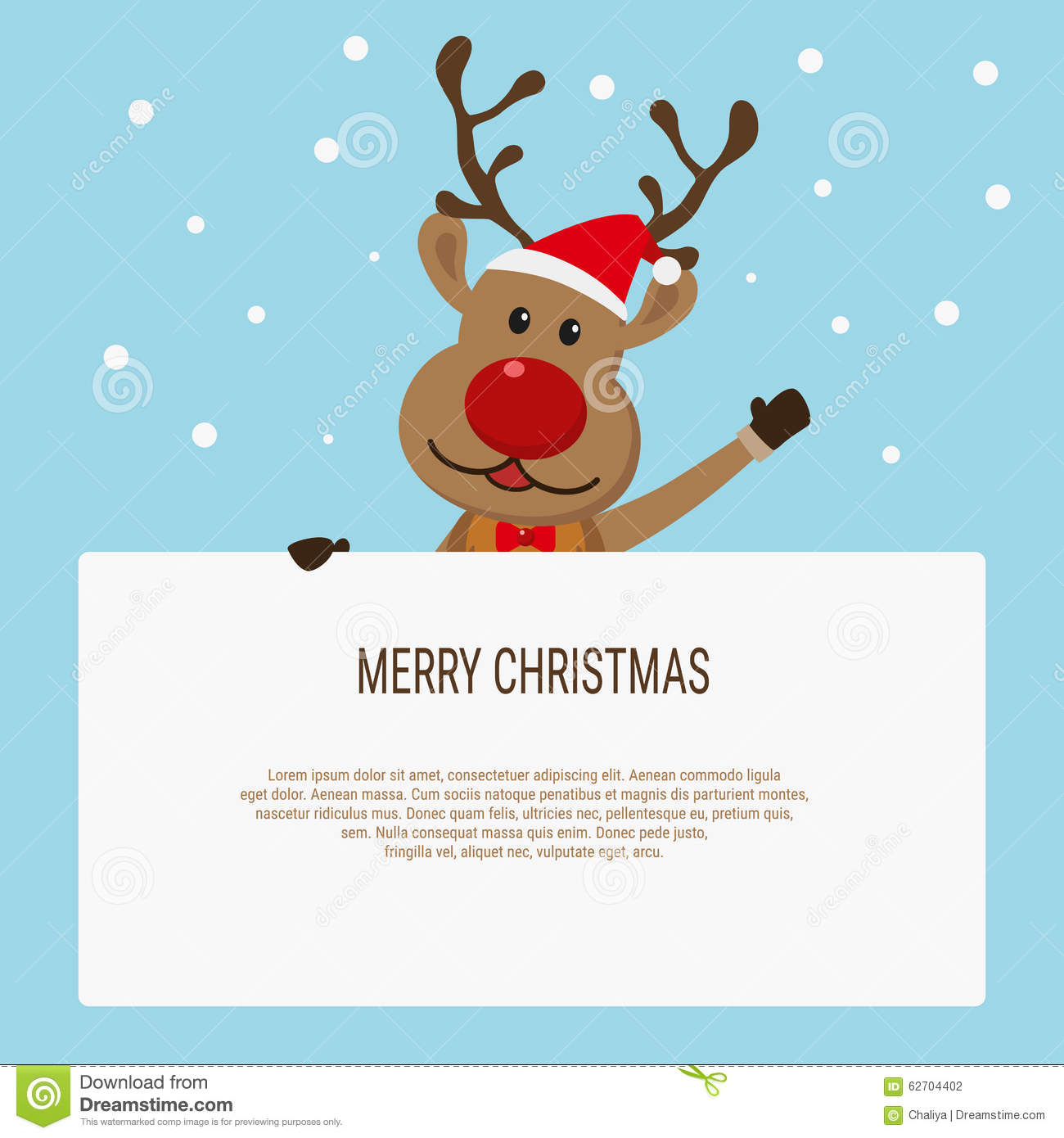 Christmas Card With Reindeer Holding Blank Paper For Your