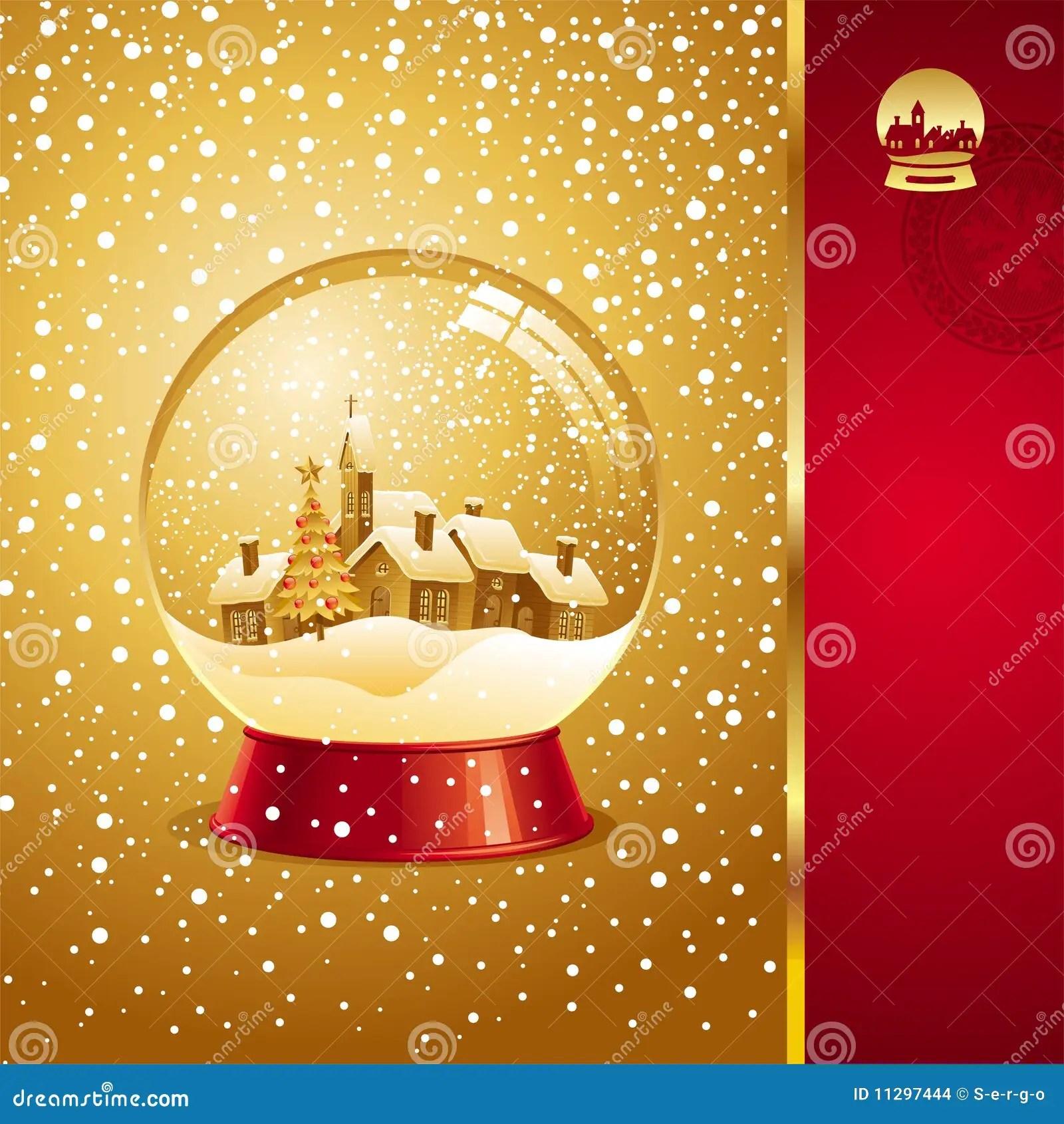 Christmas Card With Snow Globe Stock Vector Illustration