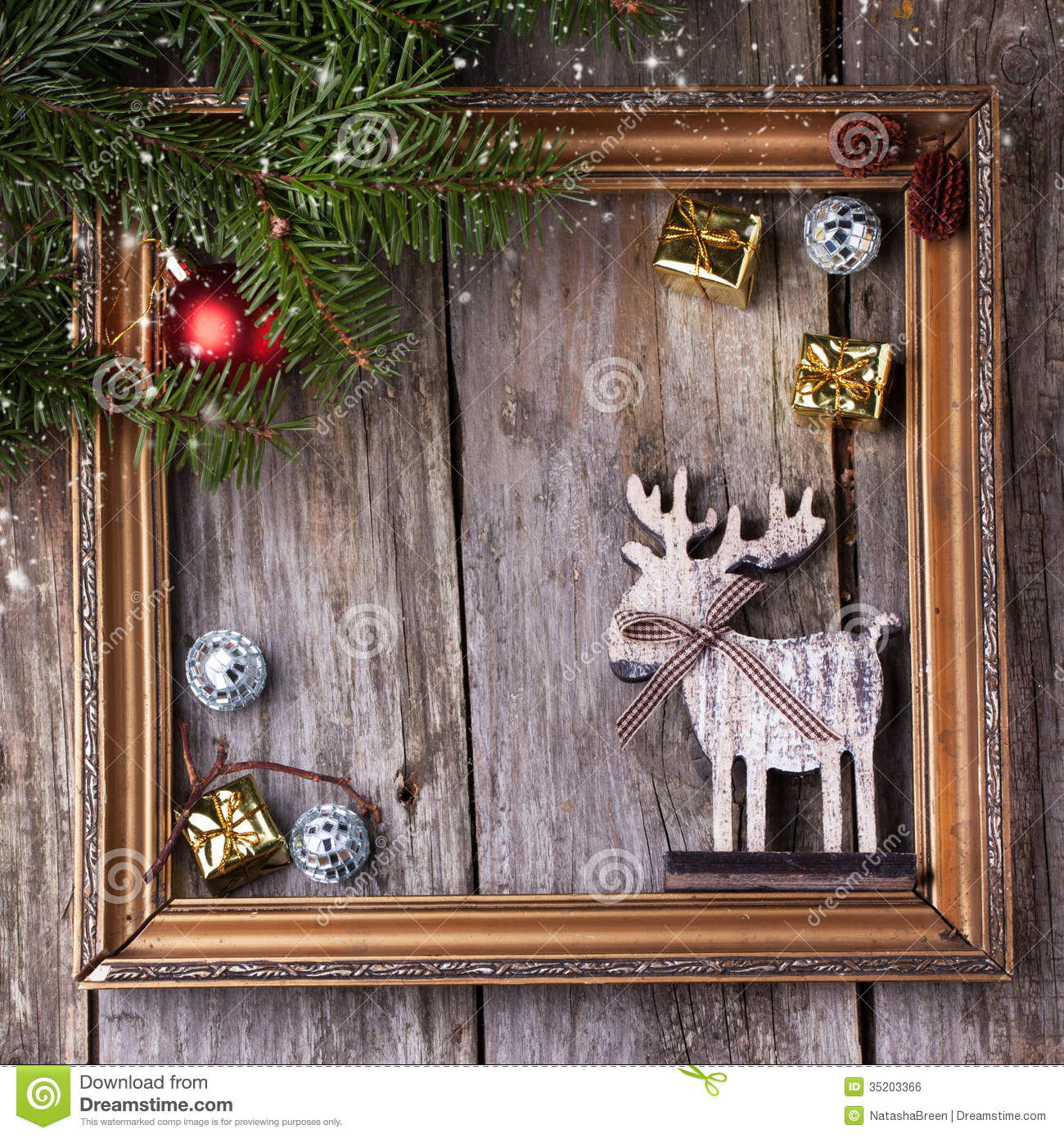 Christmas Card With Vintage Frame Royalty Free Stock Image
