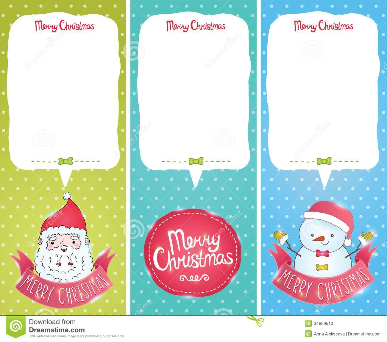 Christmas Cards With Santa Claus Snowman Stock Vector