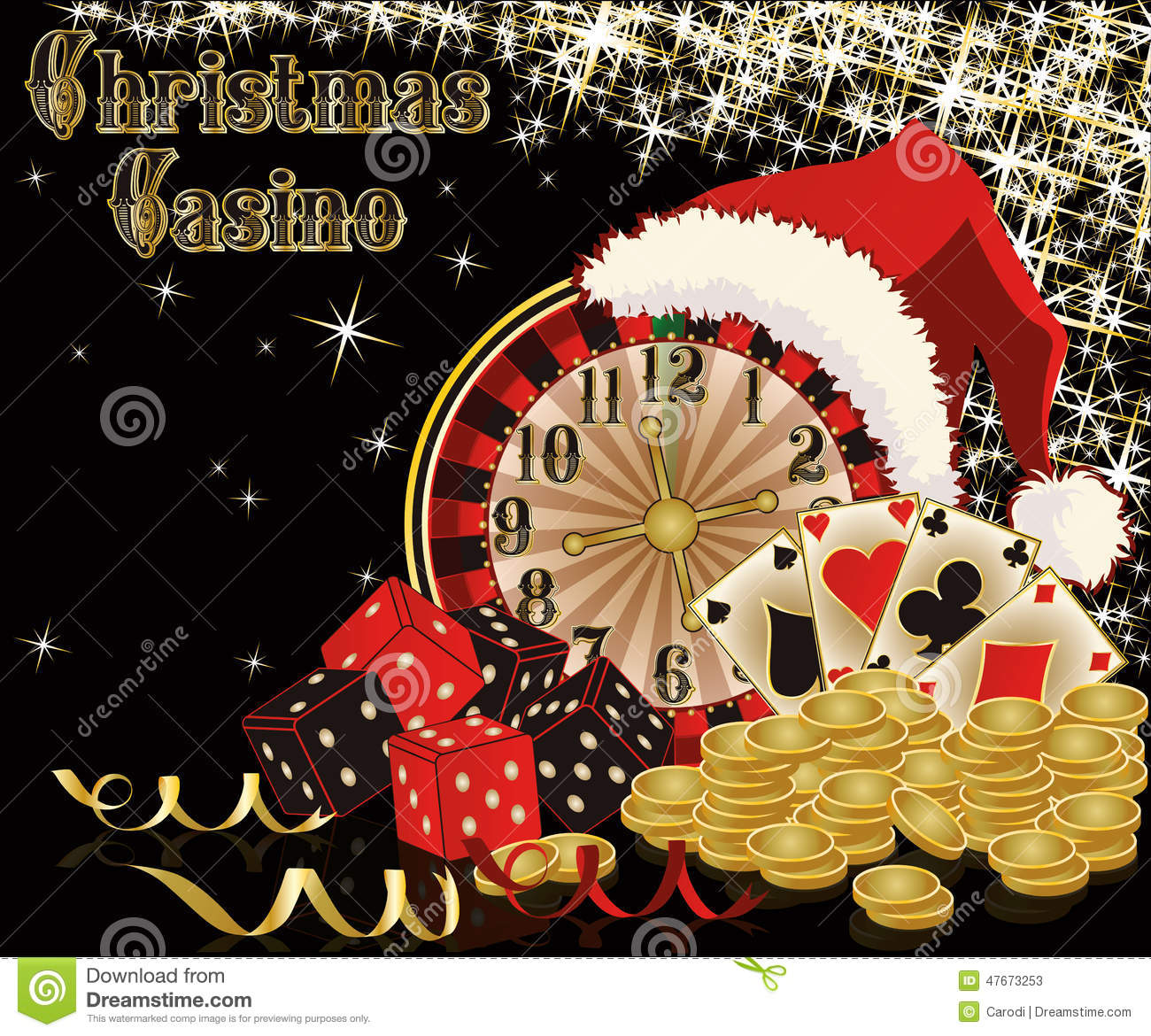 Christmas Casino Background Stock Vector Illustration Of