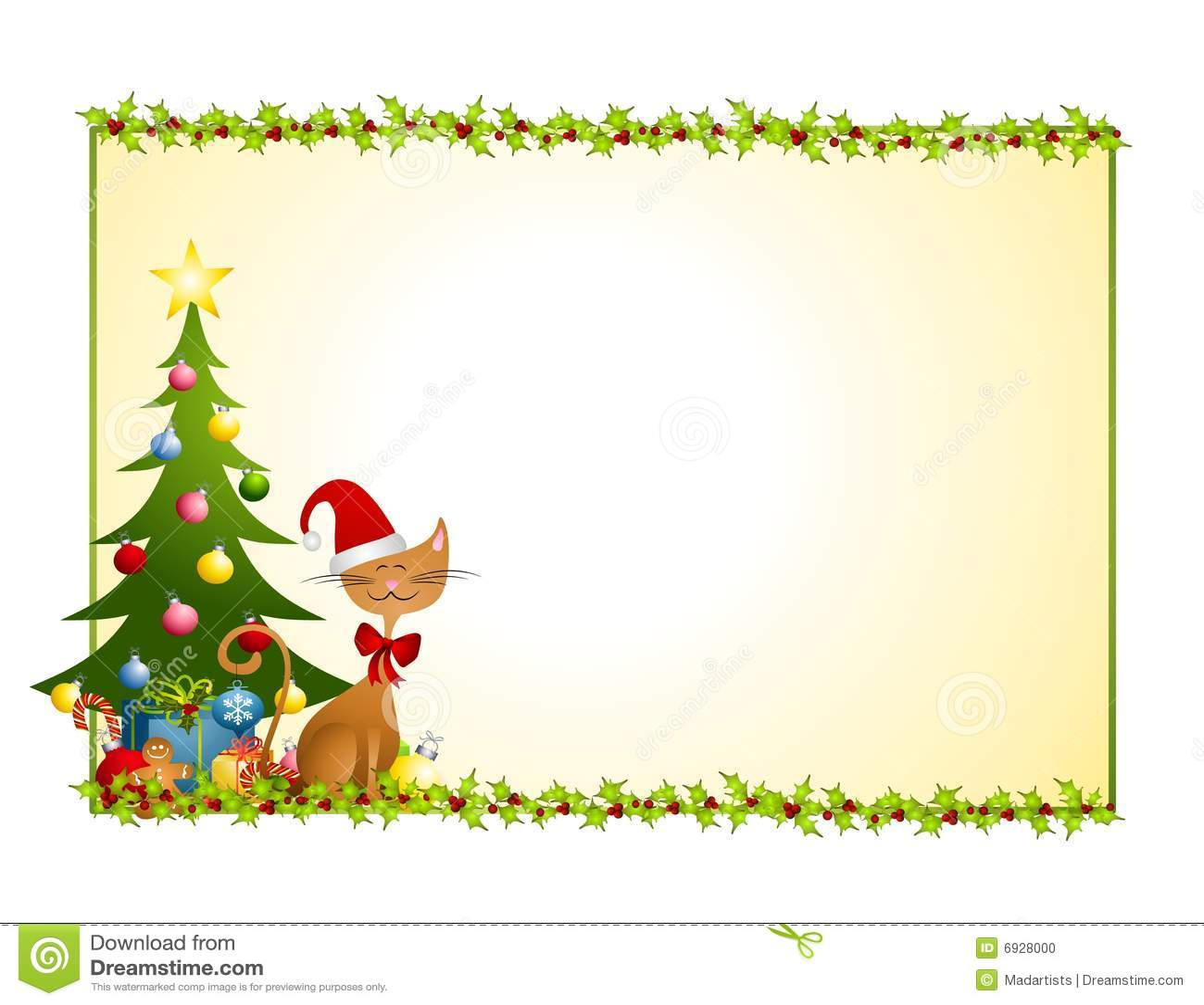 Christmas Cat Background Stock Photo