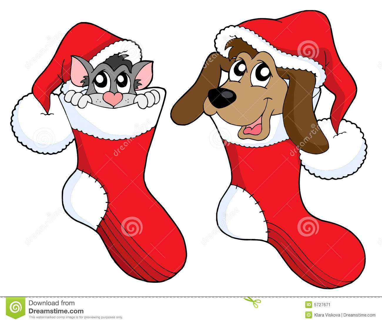 Christmas Cat And Dog Vector Stock Vector Image 5727671