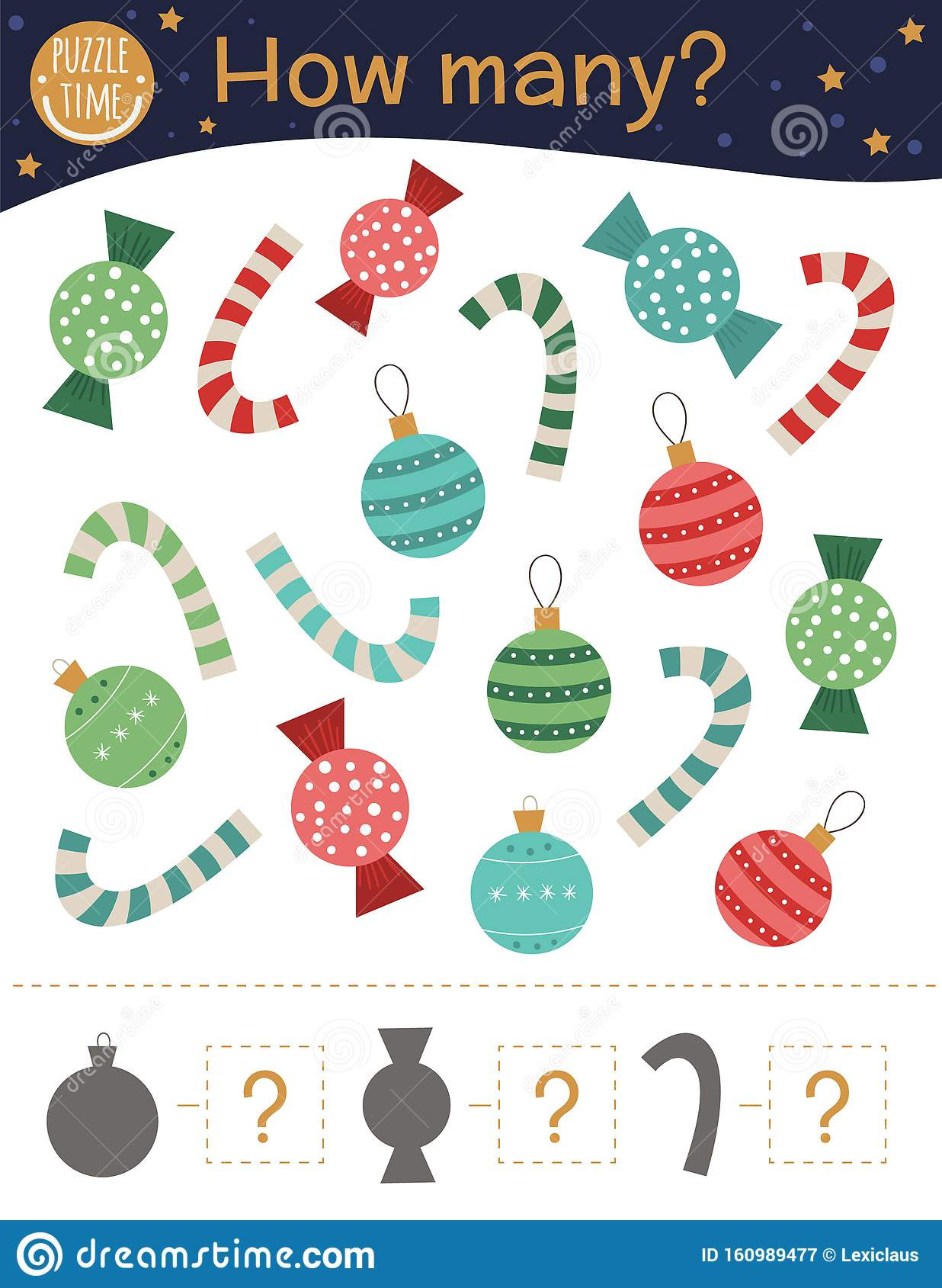 Christmas Counting Game With Balls Candy Canes Sweets