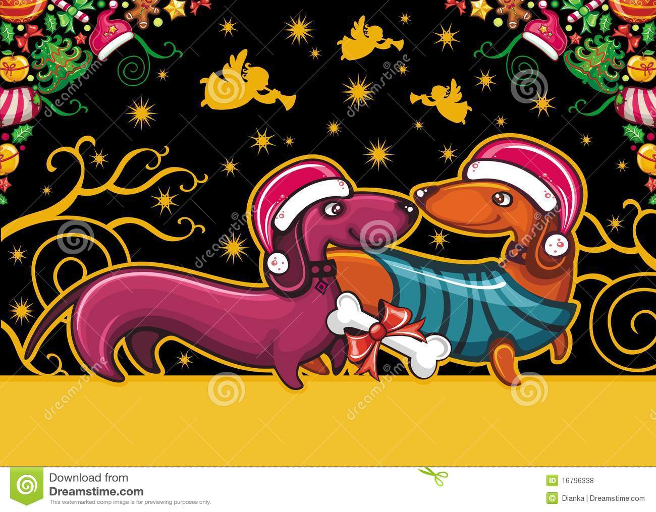 Christmas Dachshund Greeting Card Stock Vector Image
