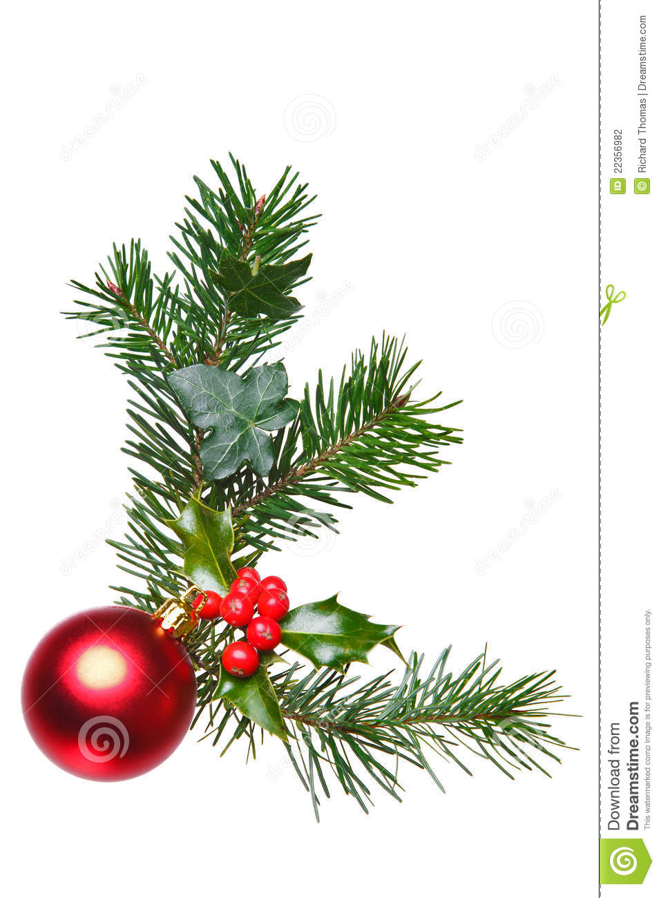 Christmas Decoration With Holly And Bauble Stock