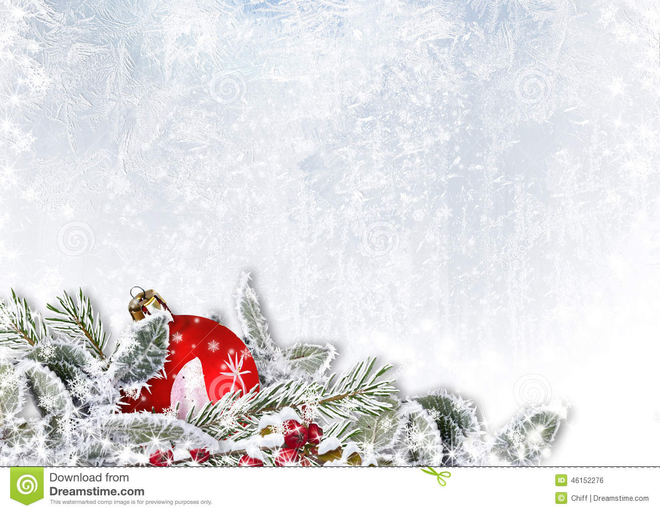 Christmas Decorations On Snow Ice Background Stock Photo