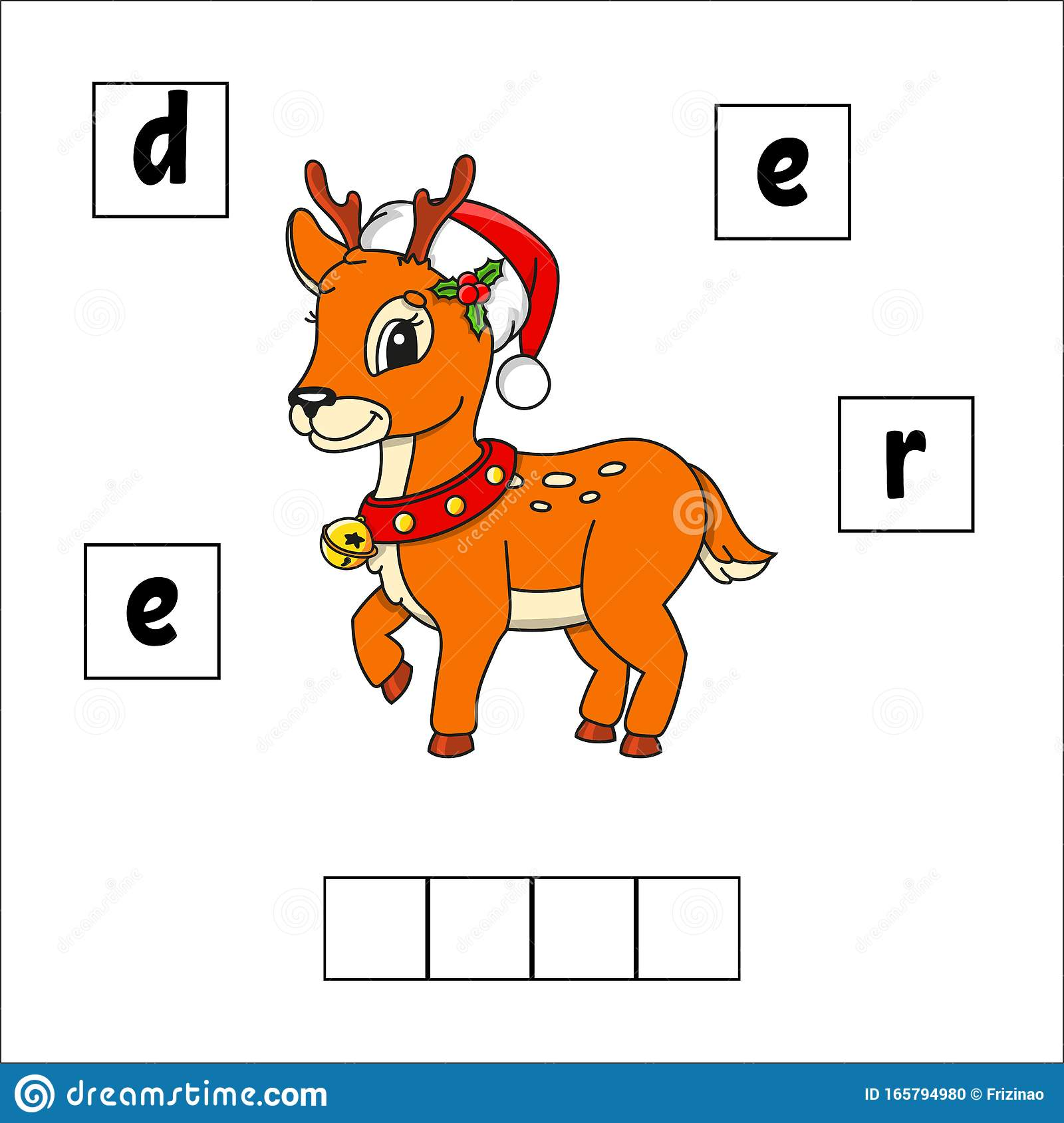 Christmas Deer Words Puzzle Education Developing