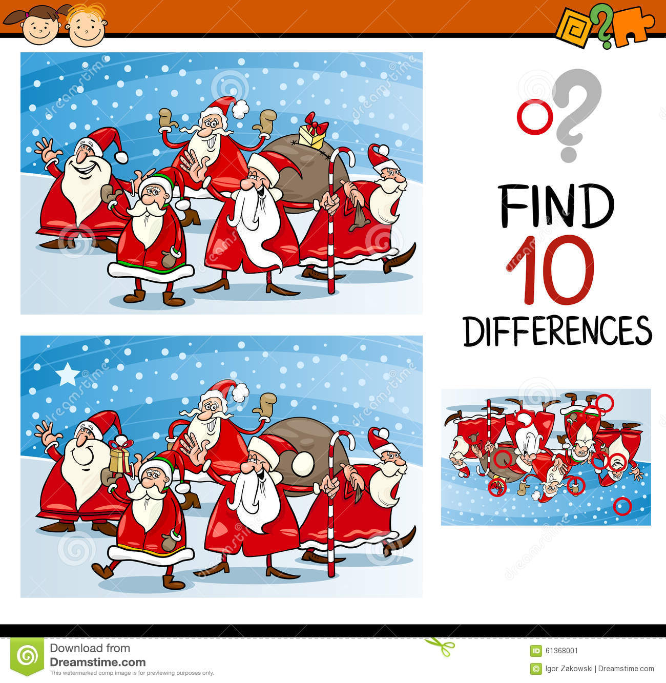 Christmas Differences Task For Kids Stock Vector