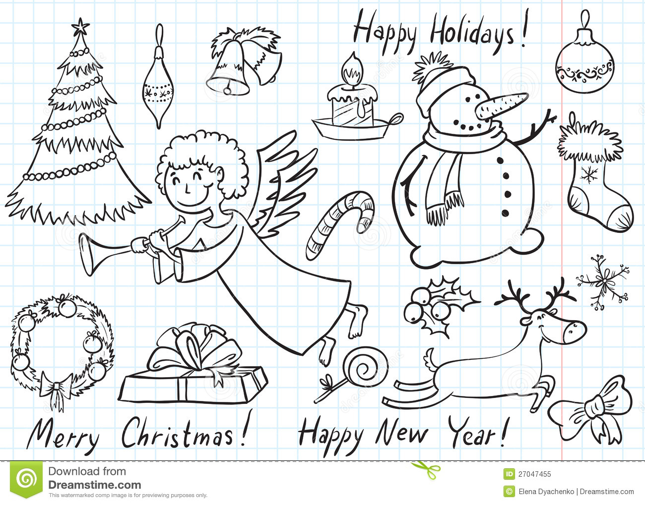 christmas doodles royalty free stock photo image 27047455