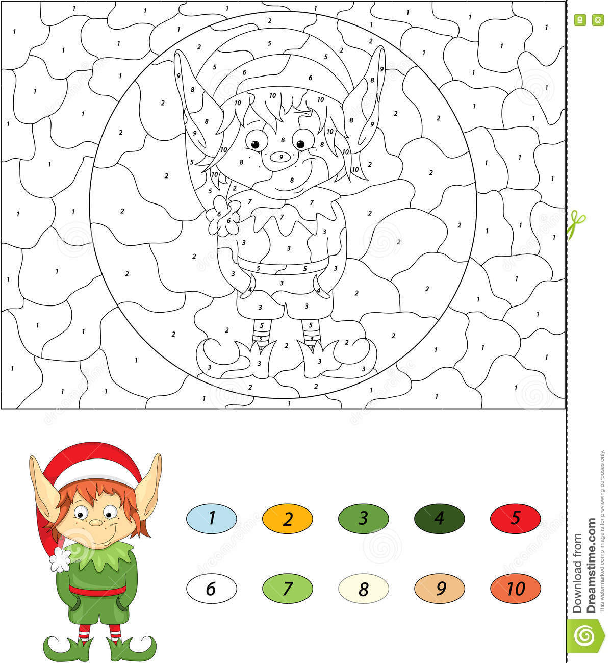 Christmas Elf Color By Number Educational Game For Kids