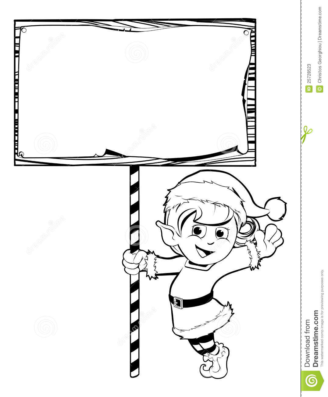 Christmas Elf Holding A Sign Stock Vector