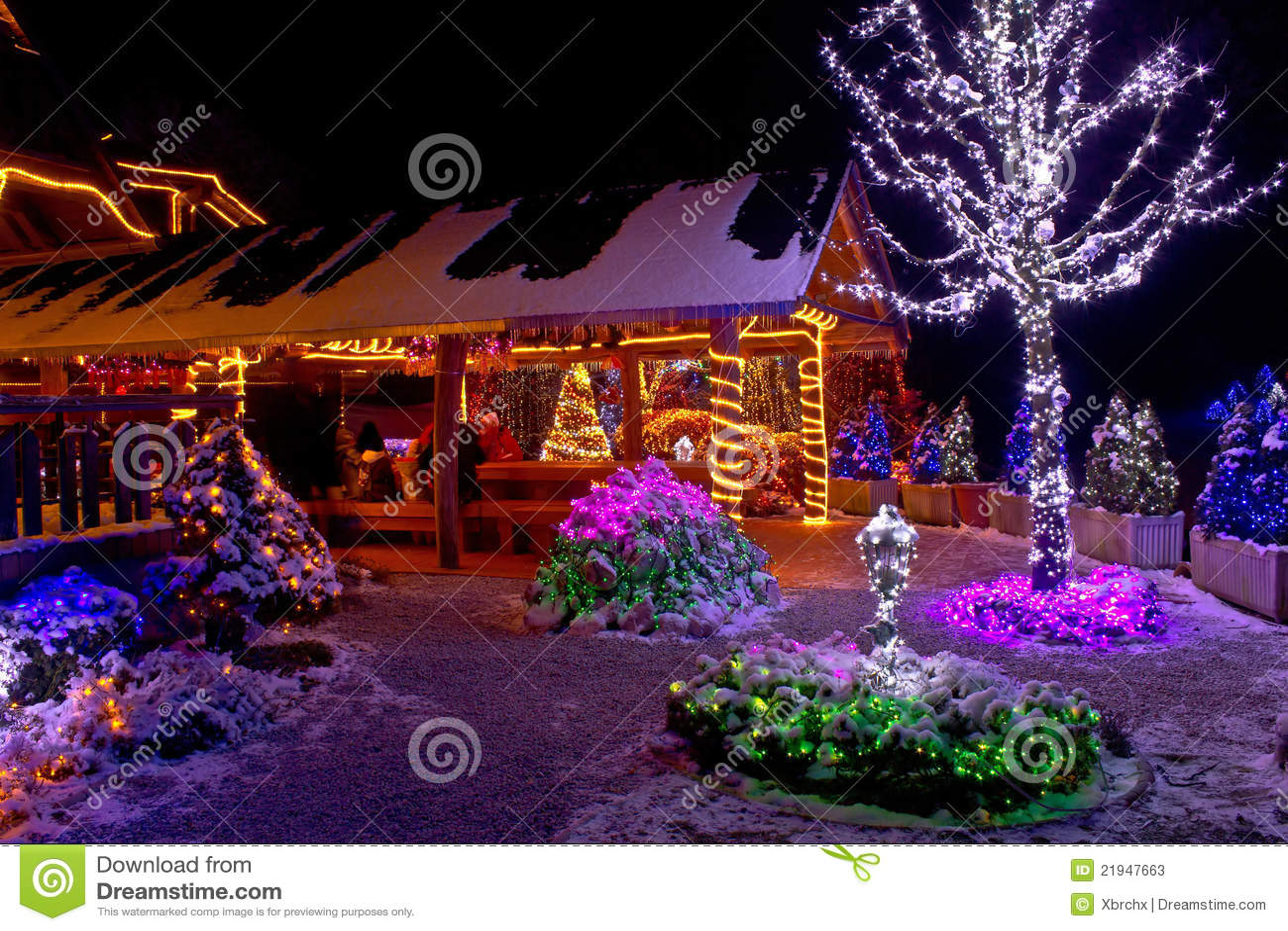 Christmas Fantasy Lodge And Tree Lights Stock Photos