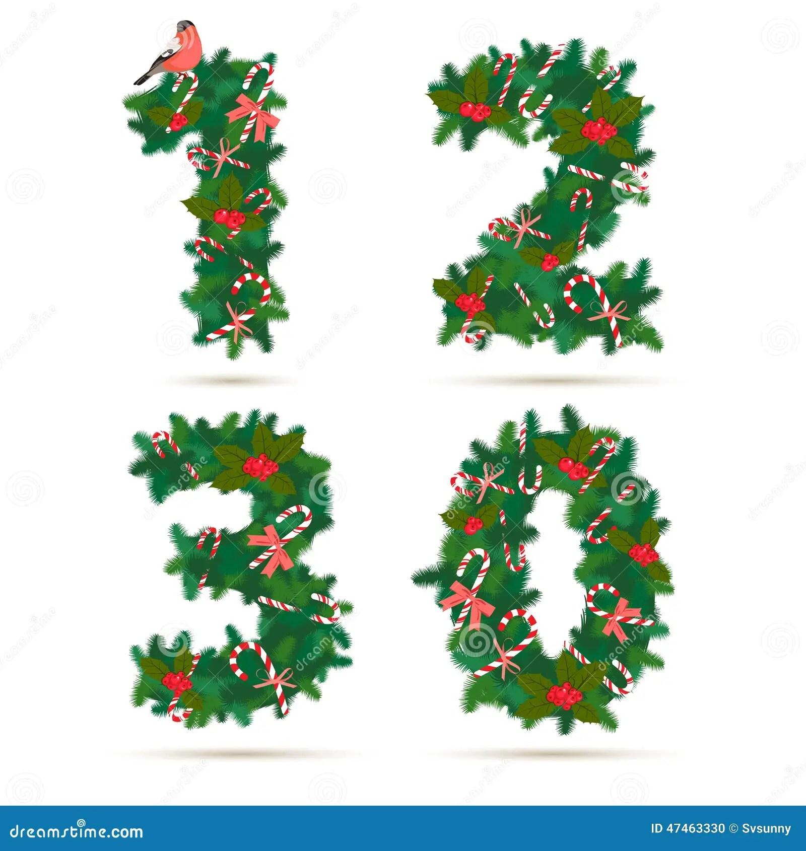 Christmas Festive Wreath Numbers 1 2 3 0 Stock