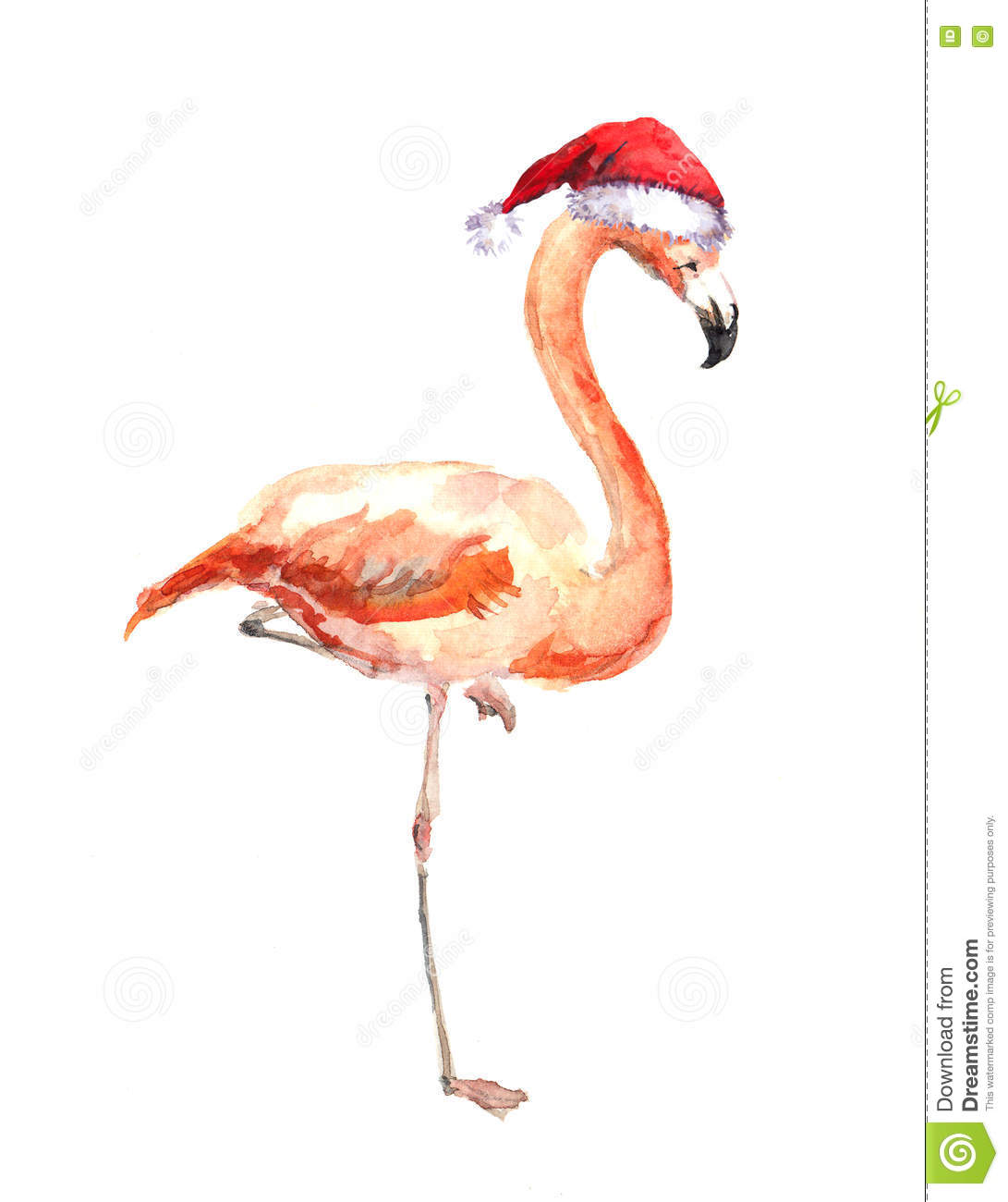 Christmas Flamingo In Red Santas Hat Watercolor Bird