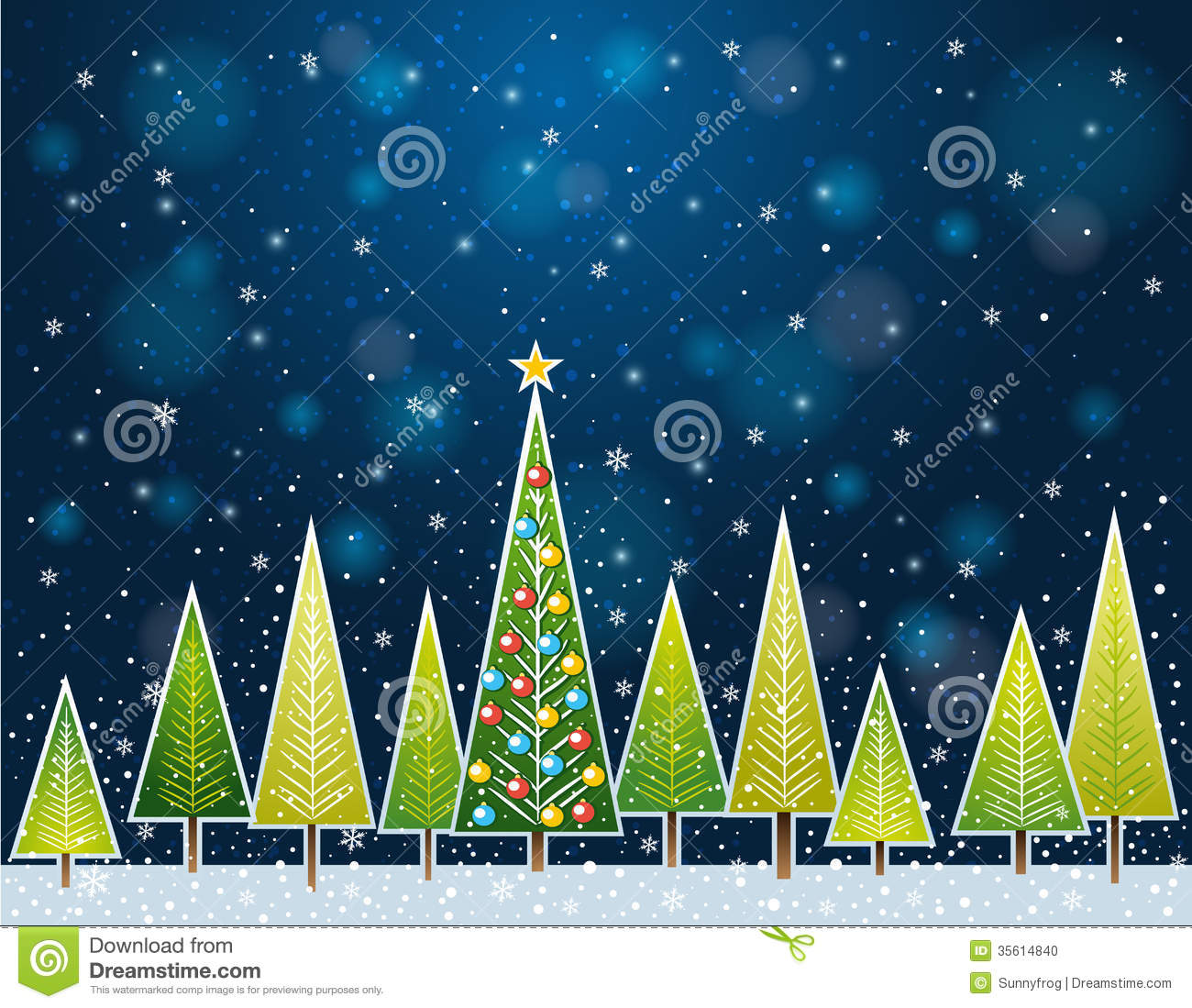 Christmas Forest In The Night Vector Stock Vector