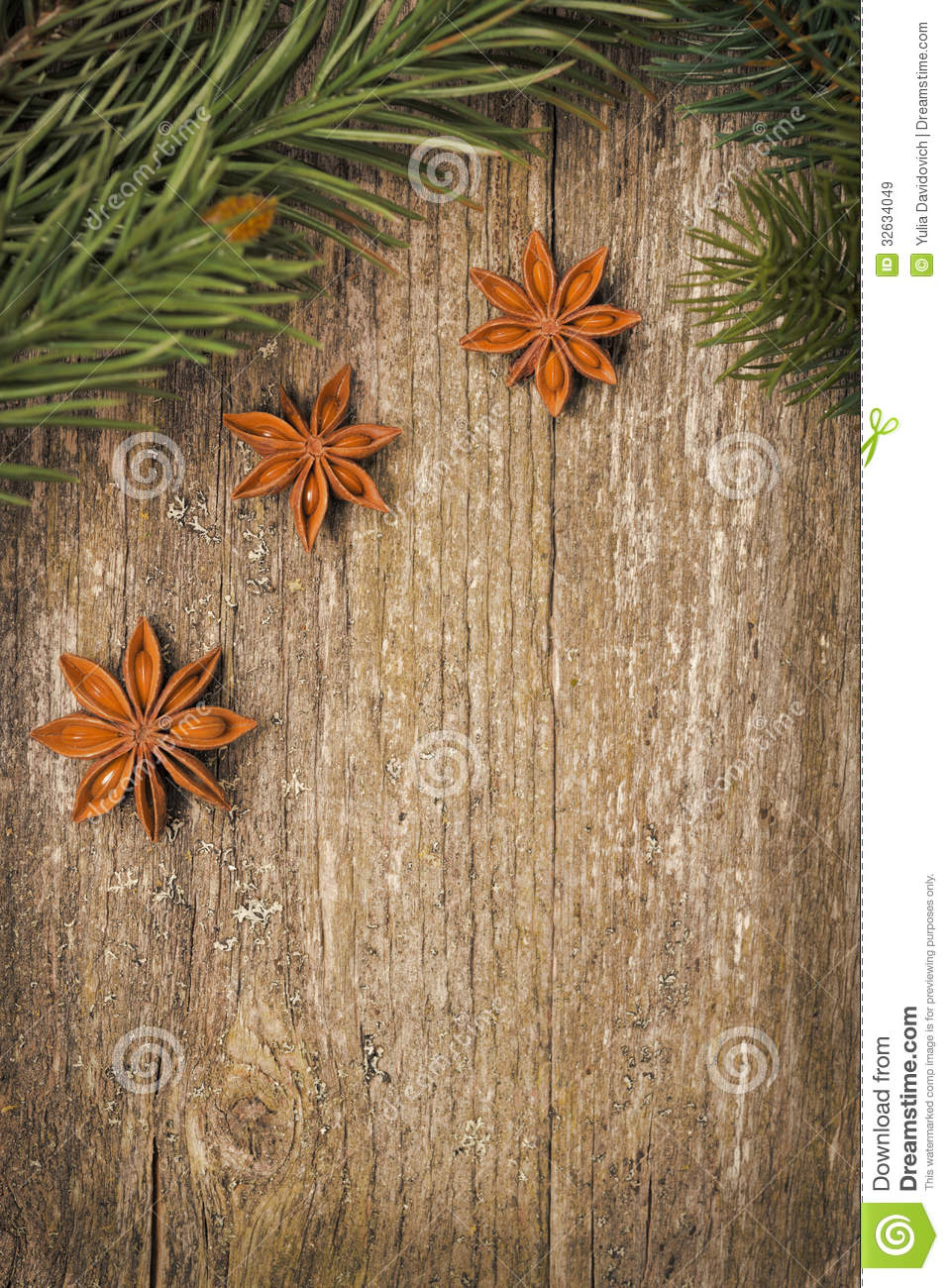 Christmas Frame Spruce Branches And Star Anise On The
