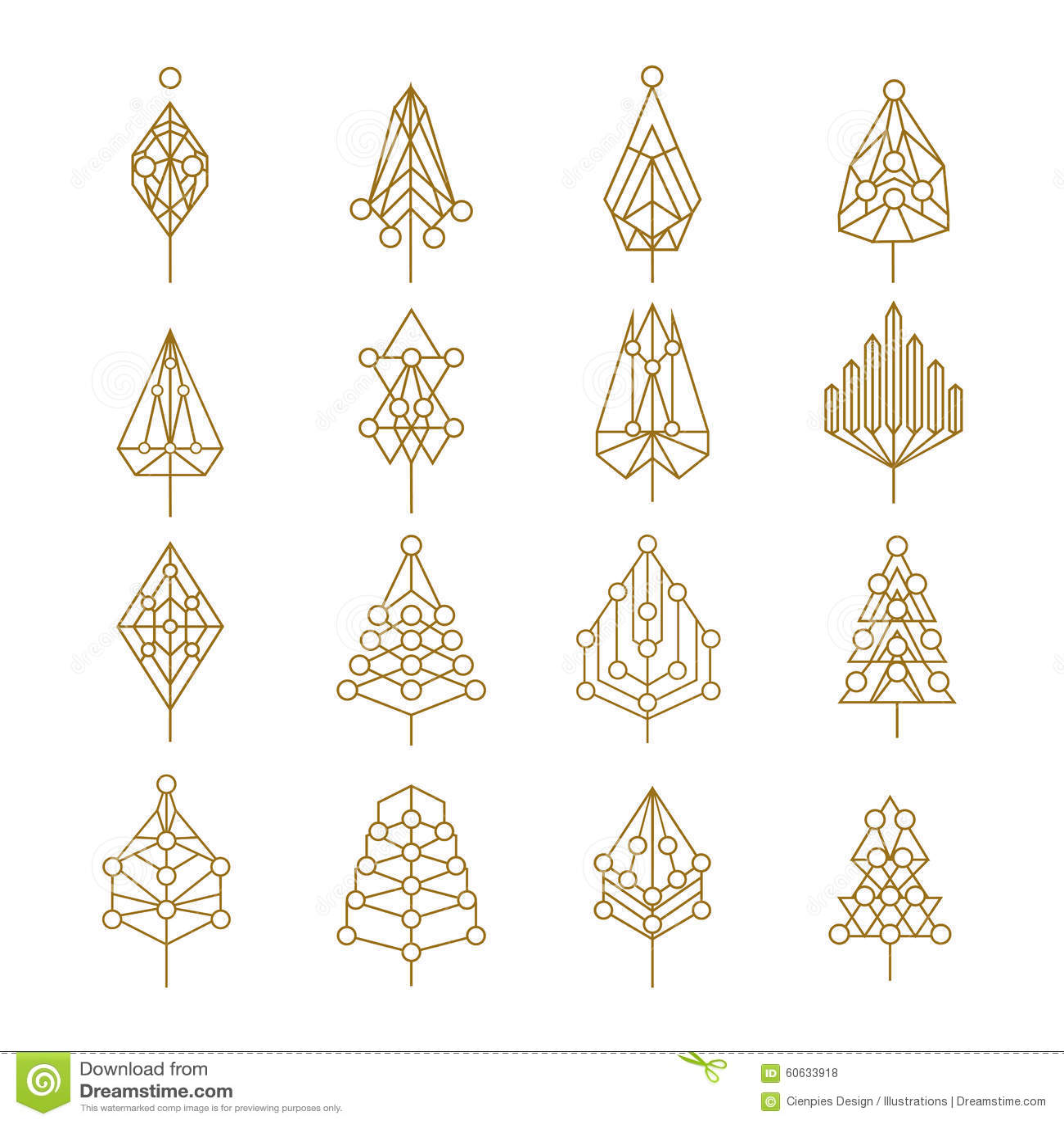 Christmas Geometry Abstract Outline Pine Tree Set Stock