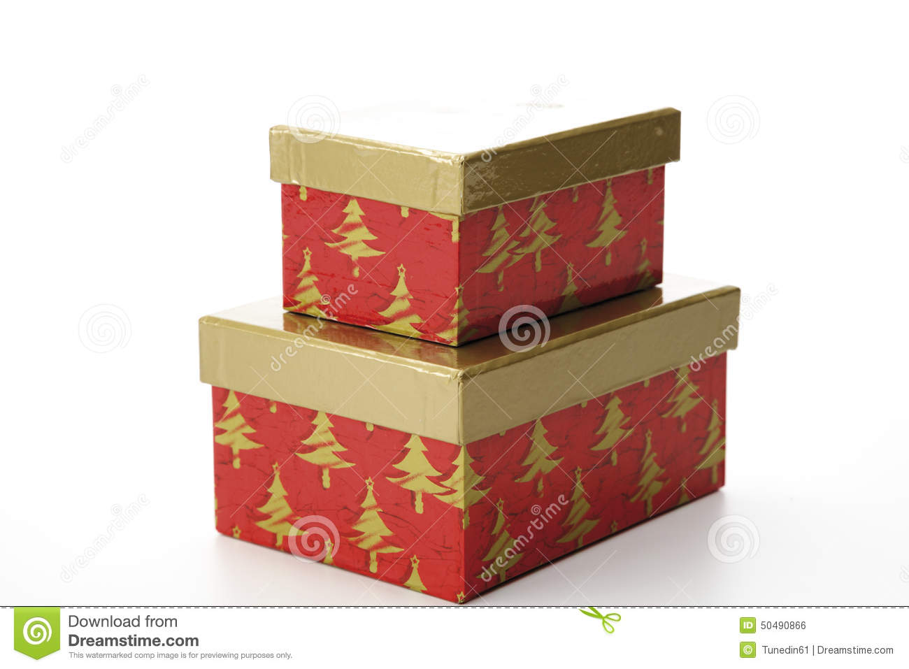 Christmas Gift Boxes With Separate Lid Stock Photo Image