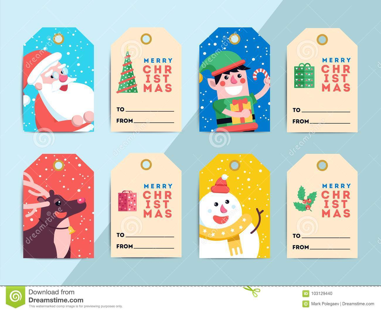 Christmas T Tags Template Set Vector Printable Xmas Box Or L Stock Vector