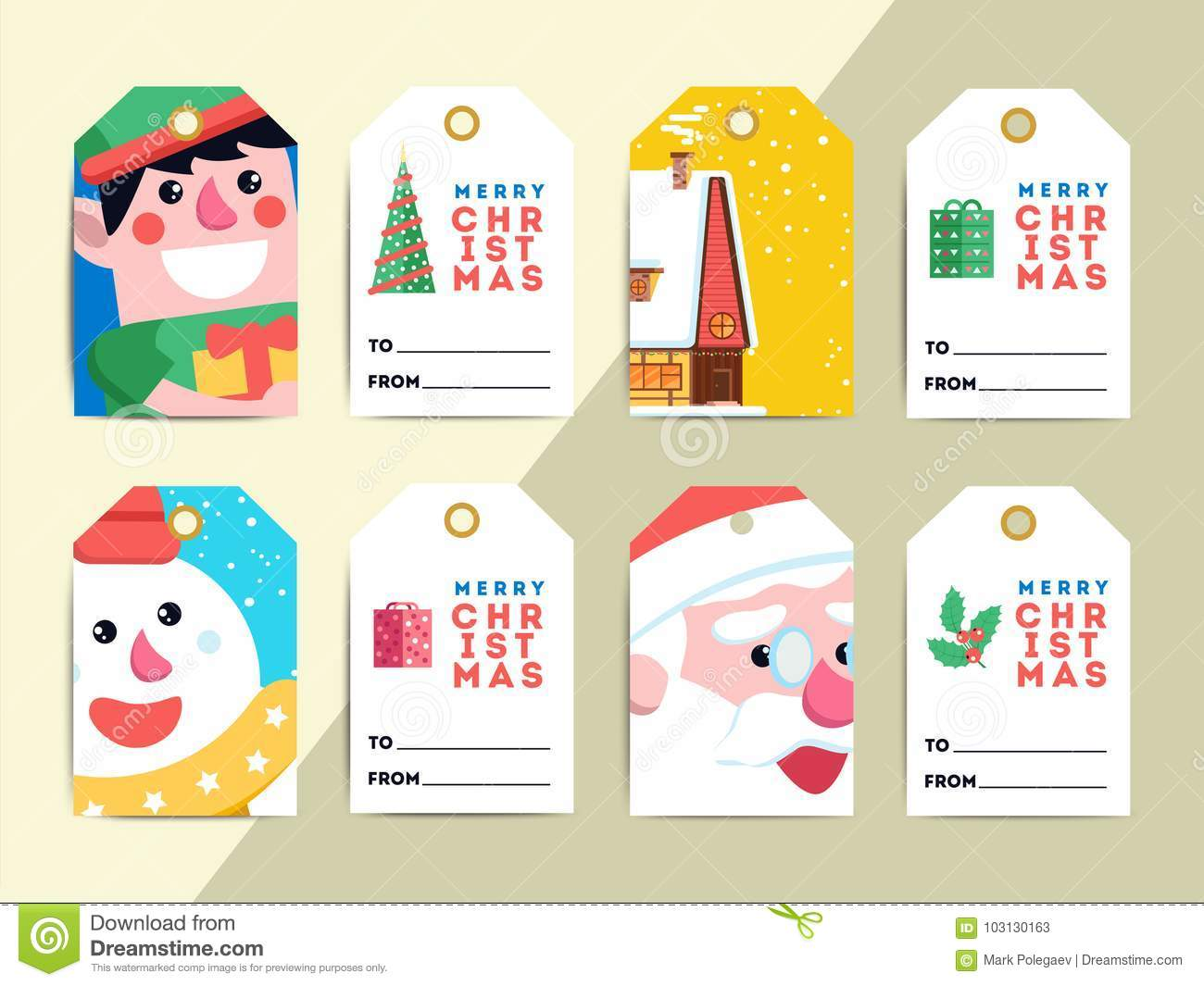 Christmas Gift Tags Template Set Vector Printable Xmas