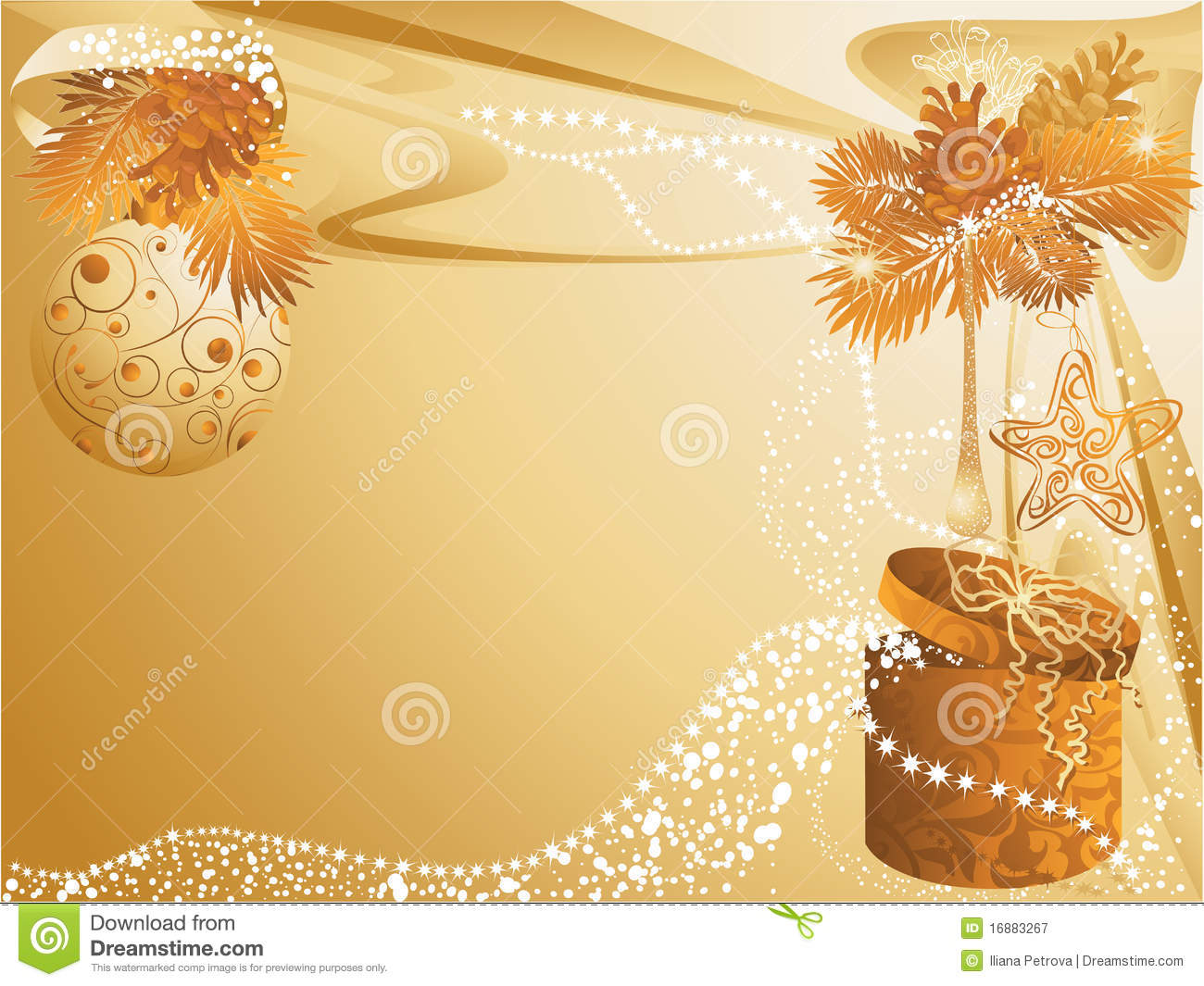 Christmas Gold Card Royalty Free Stock Photography Image