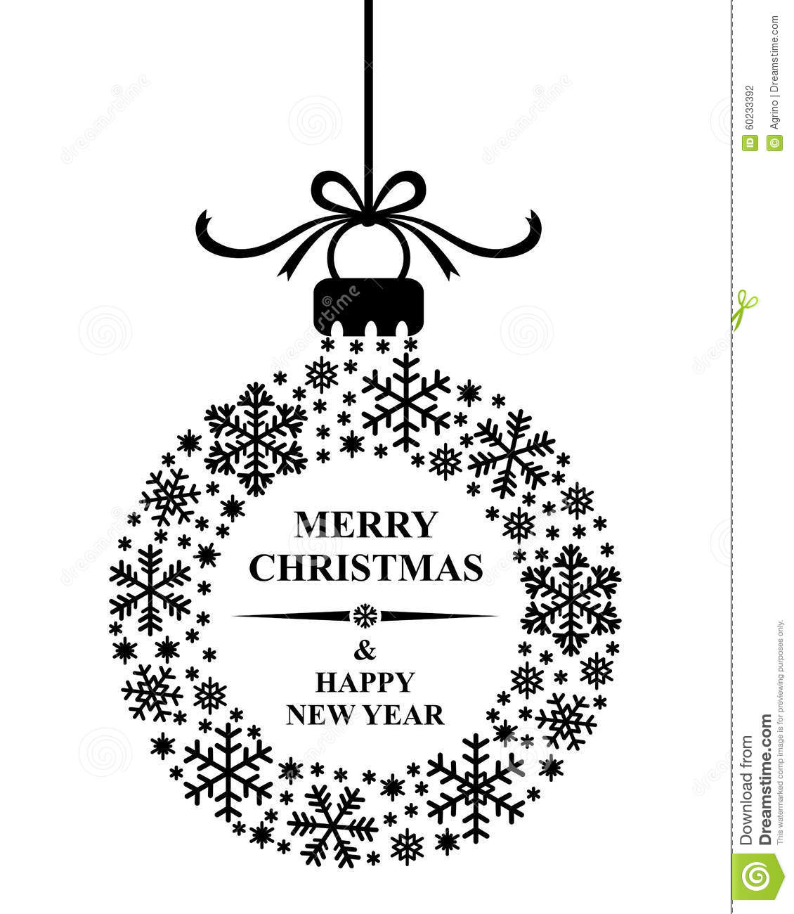 Christmas Greeting Snowflakes Ball Stock Vector