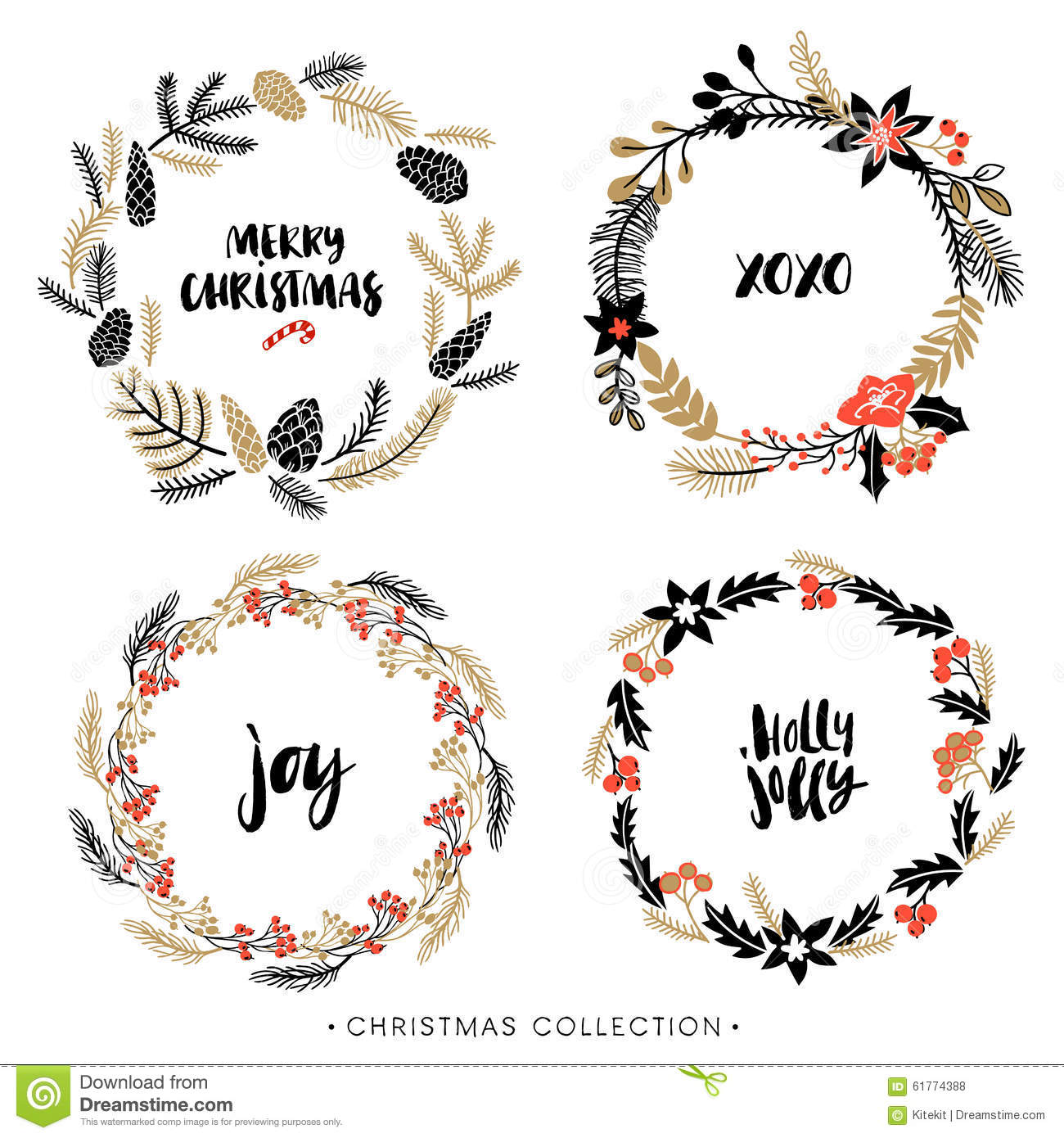 Christmas Greeting Wreaths With Calligraphy Stock Vector
