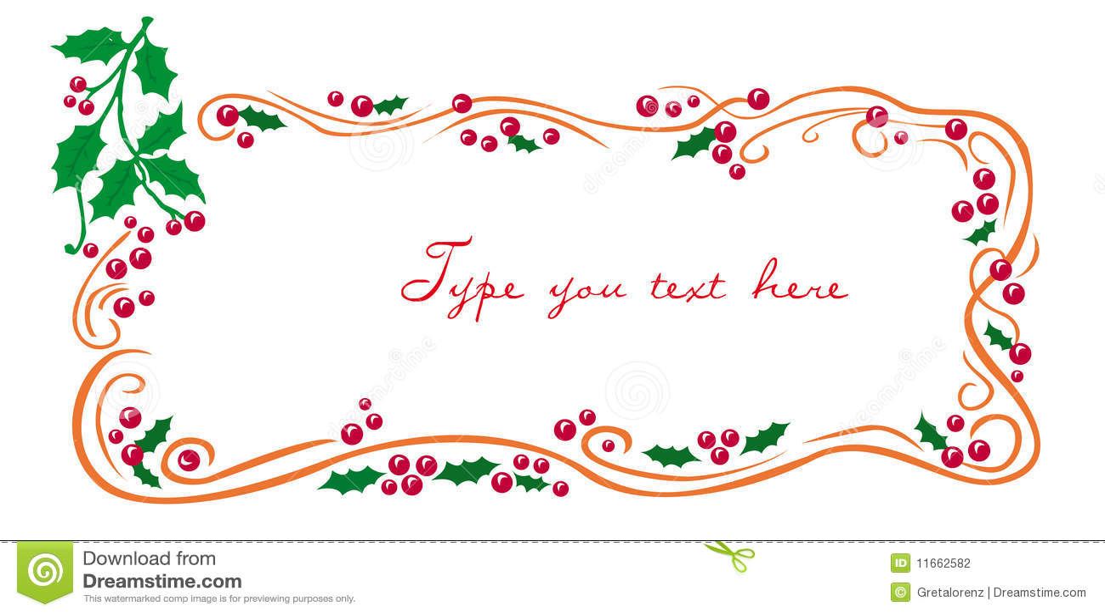 Christmas Greetings Frame With Mistletoe Stock Vector