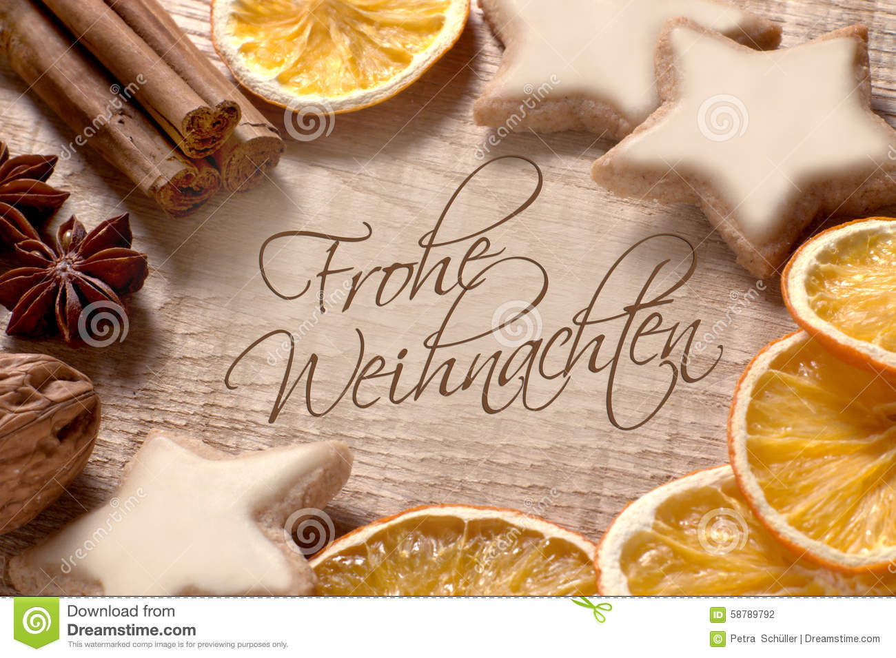 Christmas Greetings In German Stock Photo Image 58789792