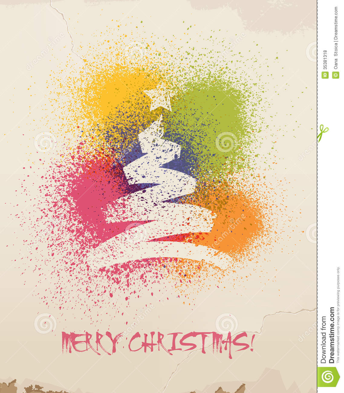 Christmas Greetings Spray Painted On Wall Stock Vector