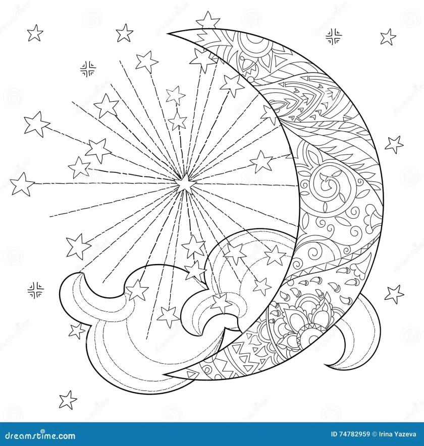 christmas half moon  stars . stock vector