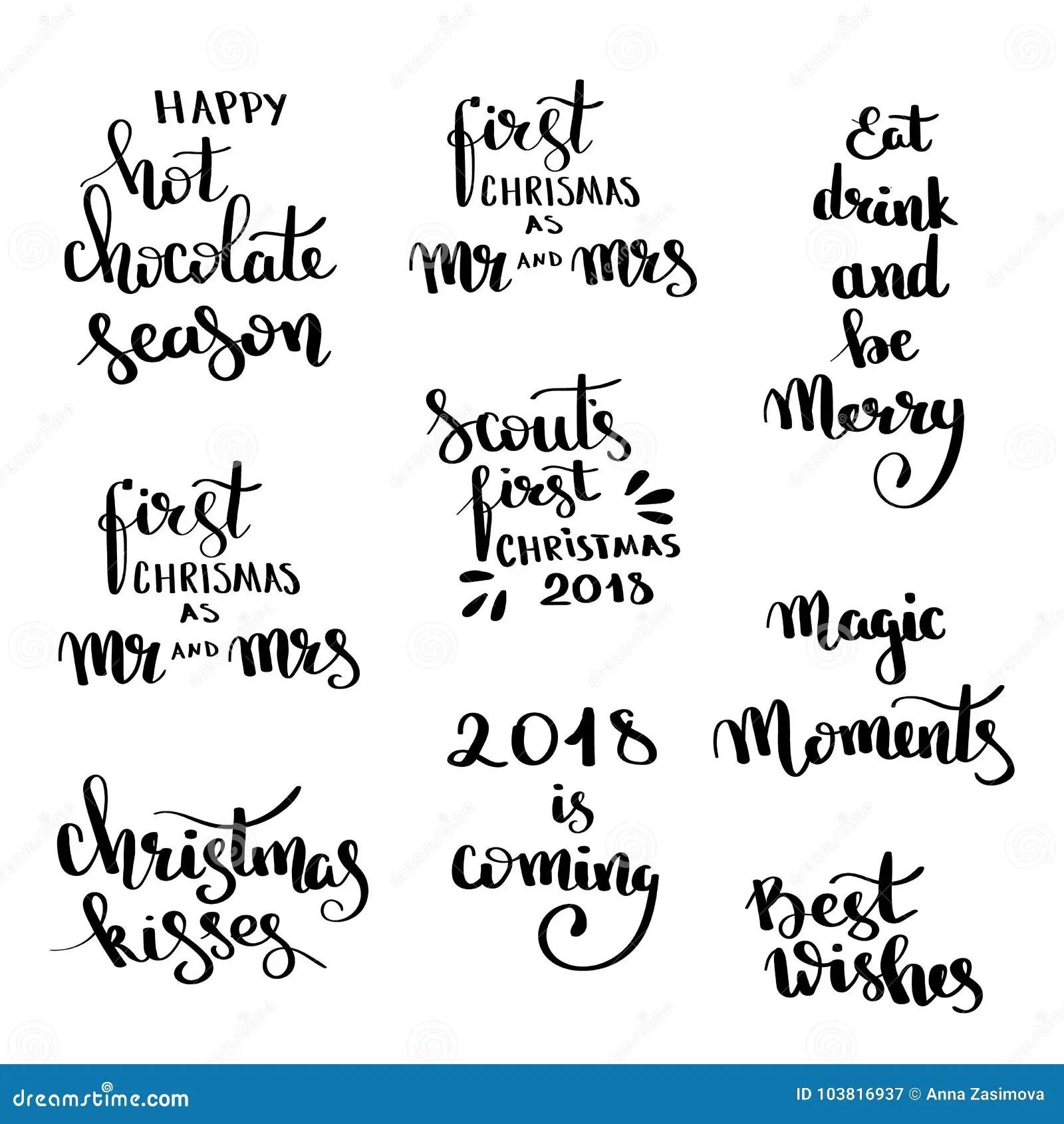 Christmas Hand Drawn Lettering Design Set Handwritten