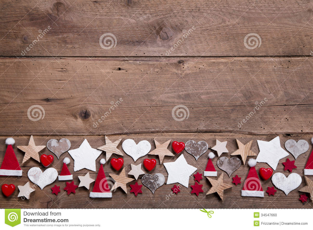 Christmas Heart And Stars Decoration As Border Or Frame On