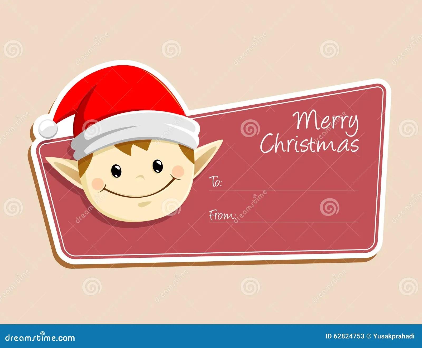 Cartoon Christmas Elf Face Vector Illustration