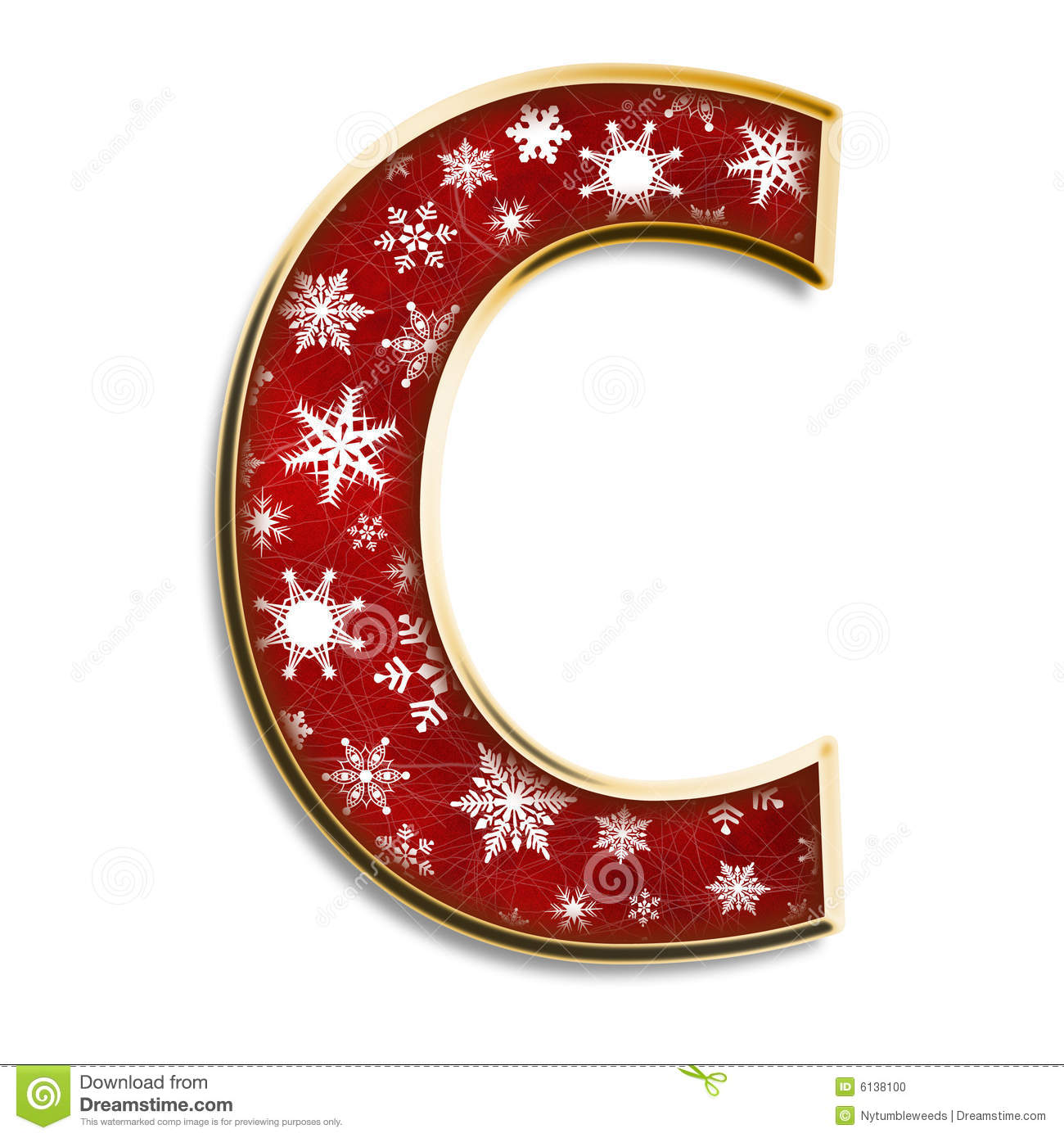 Christmas Letter C In Red Stock Illustration Image Of