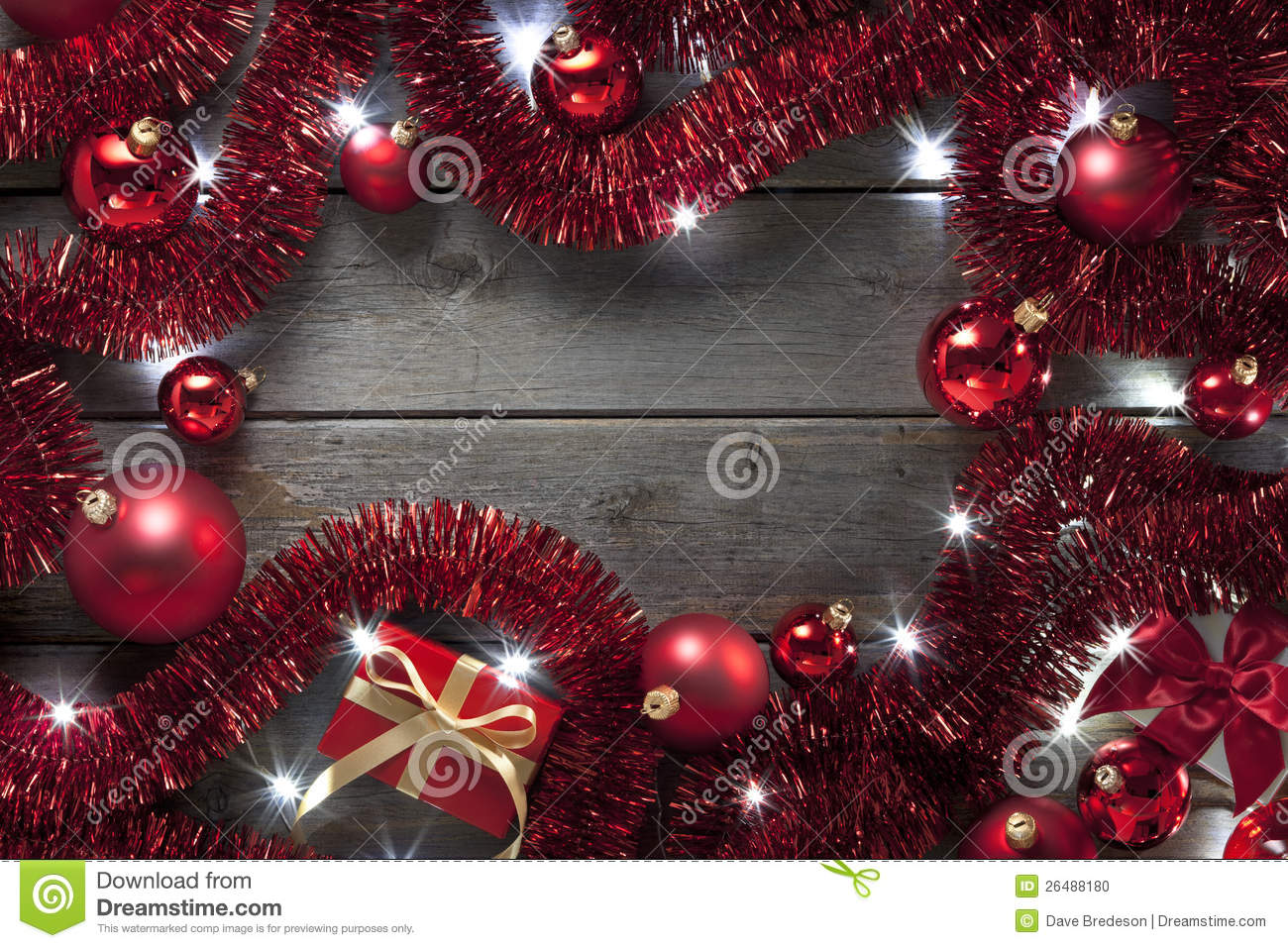 Christmas Lights Tinsel Background Stock Photo Image Of