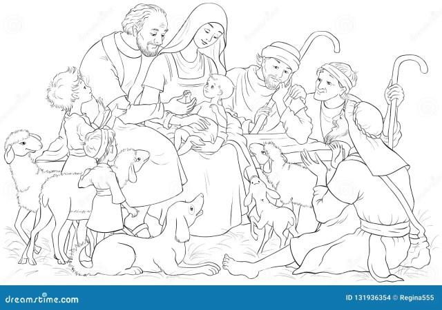Christmas Nativity Scene with Holy Family Baby Jesus, Mary, Joseph