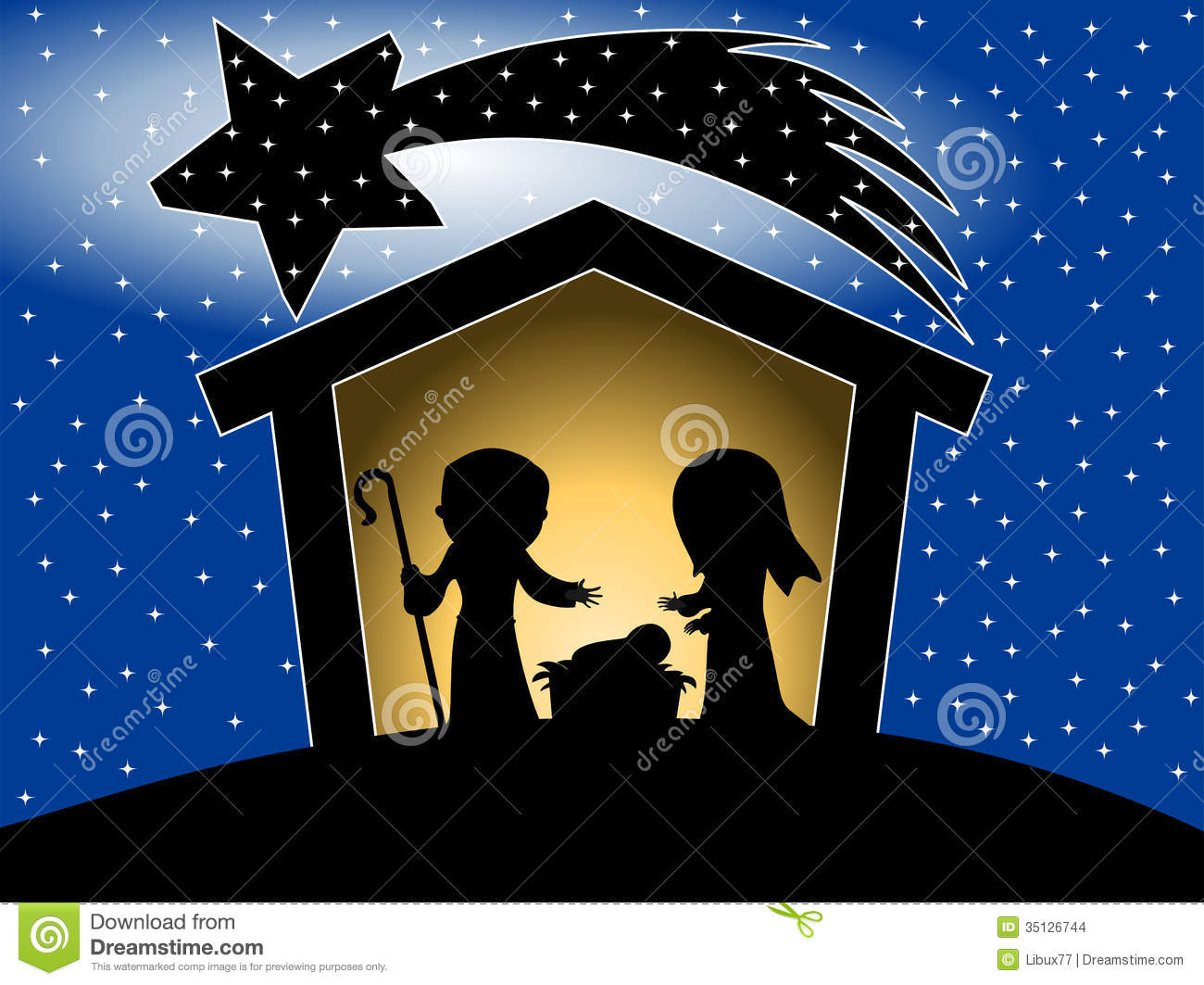 Christmas Nativity Scene Silhouette Stock Vector