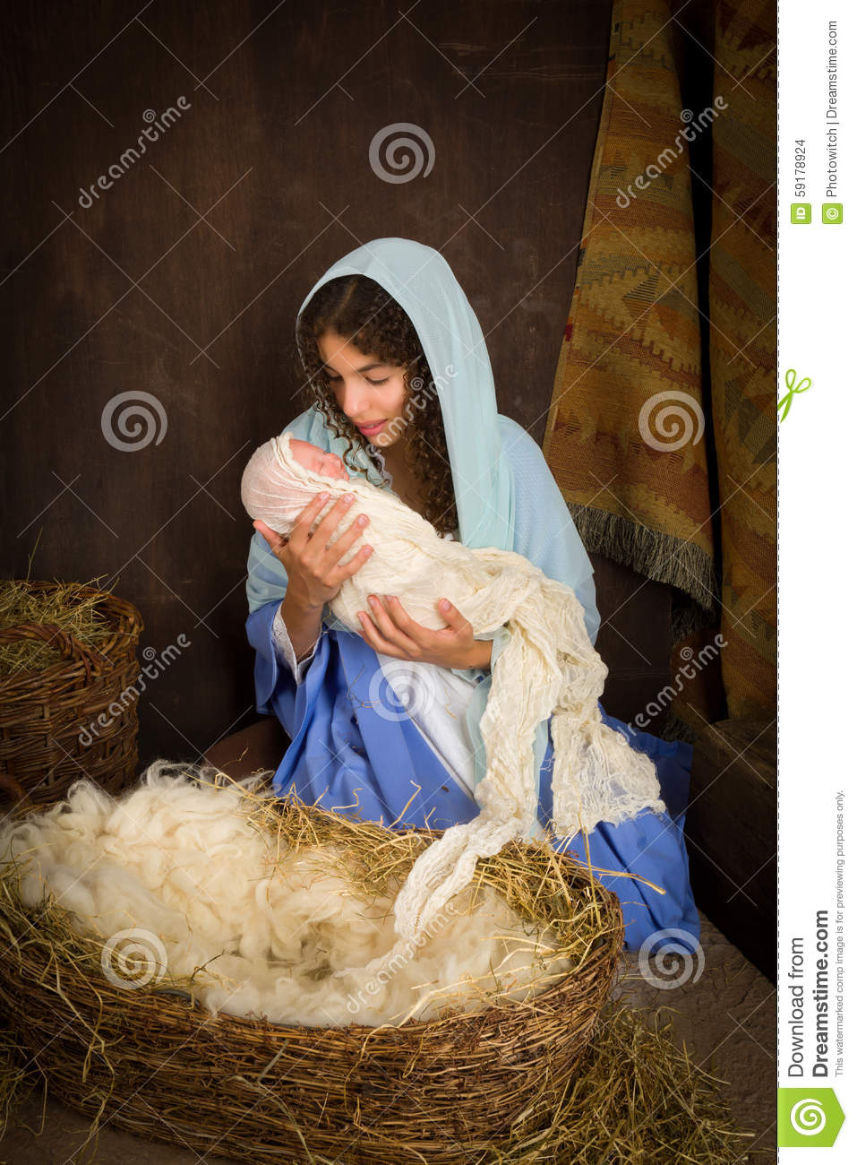 Christmas Nativity With Virgin Mary Stock Photo Image