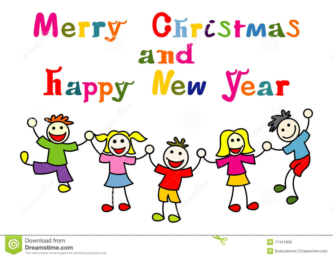 Christmas And New Year Card With Happy Kids Stock