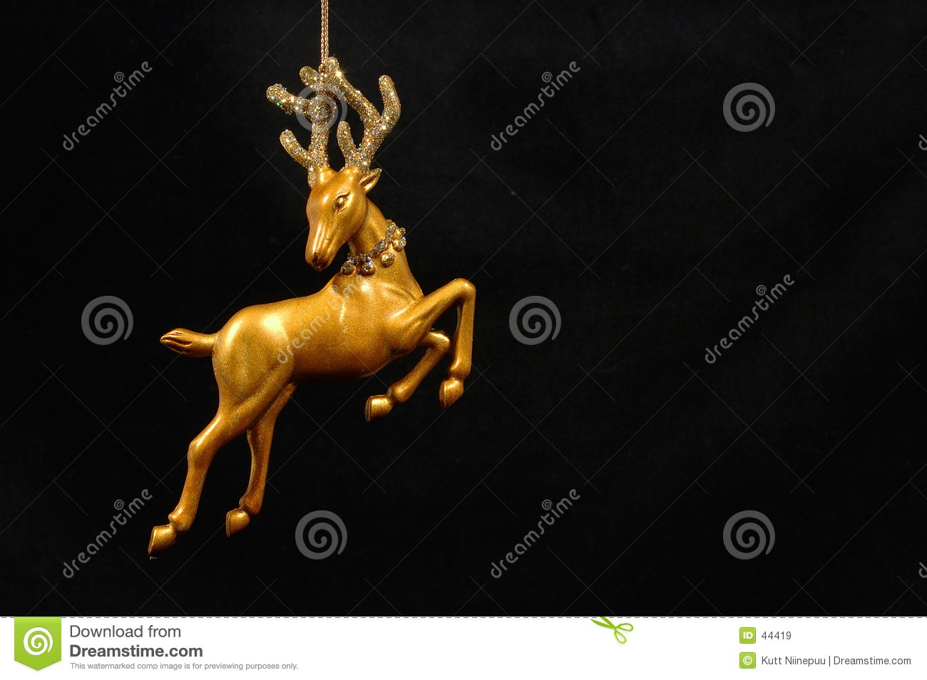 Christmas Ornament Golden Reindeer Royalty Free Stock